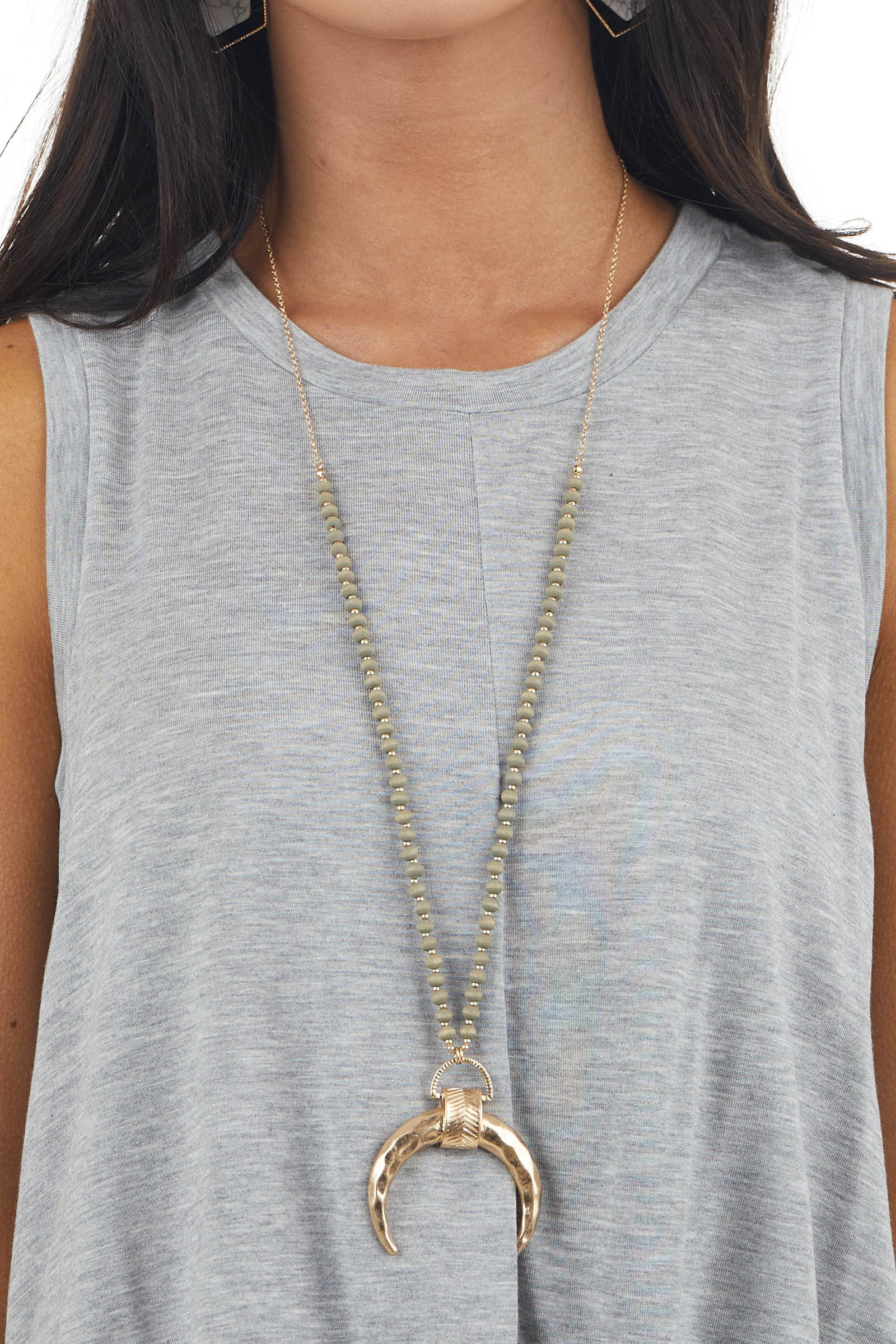 Ash Grey Beaded Long Necklace with Hammered Gold Crescent