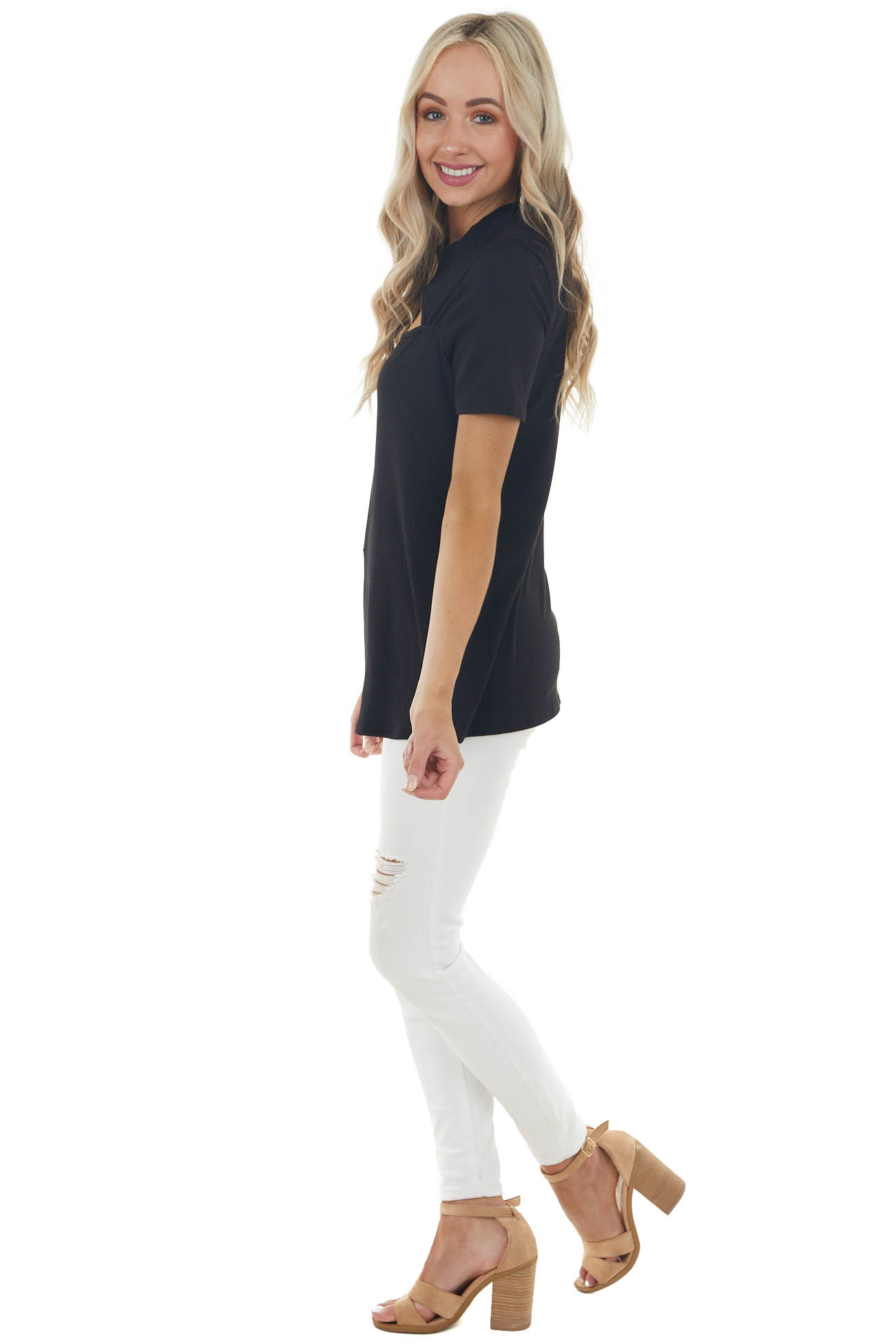 Black Ribbed Short Sleeve Knit Top with Cut Out Detail