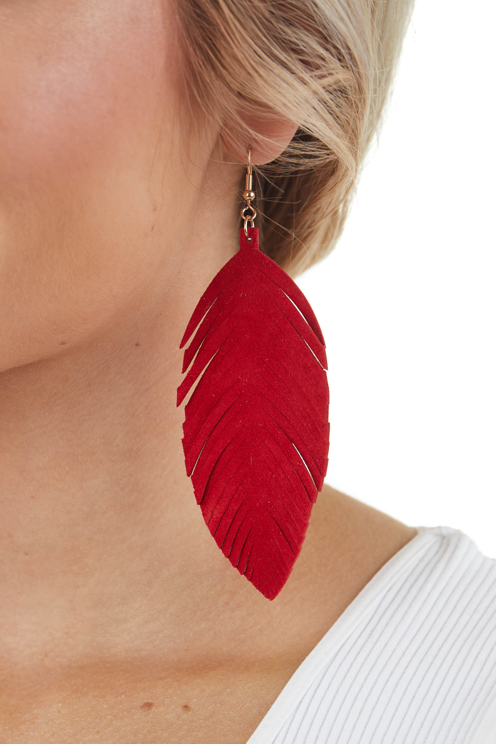 Cranberry Genuine Leather Feather Shaped Dangle Earrings
