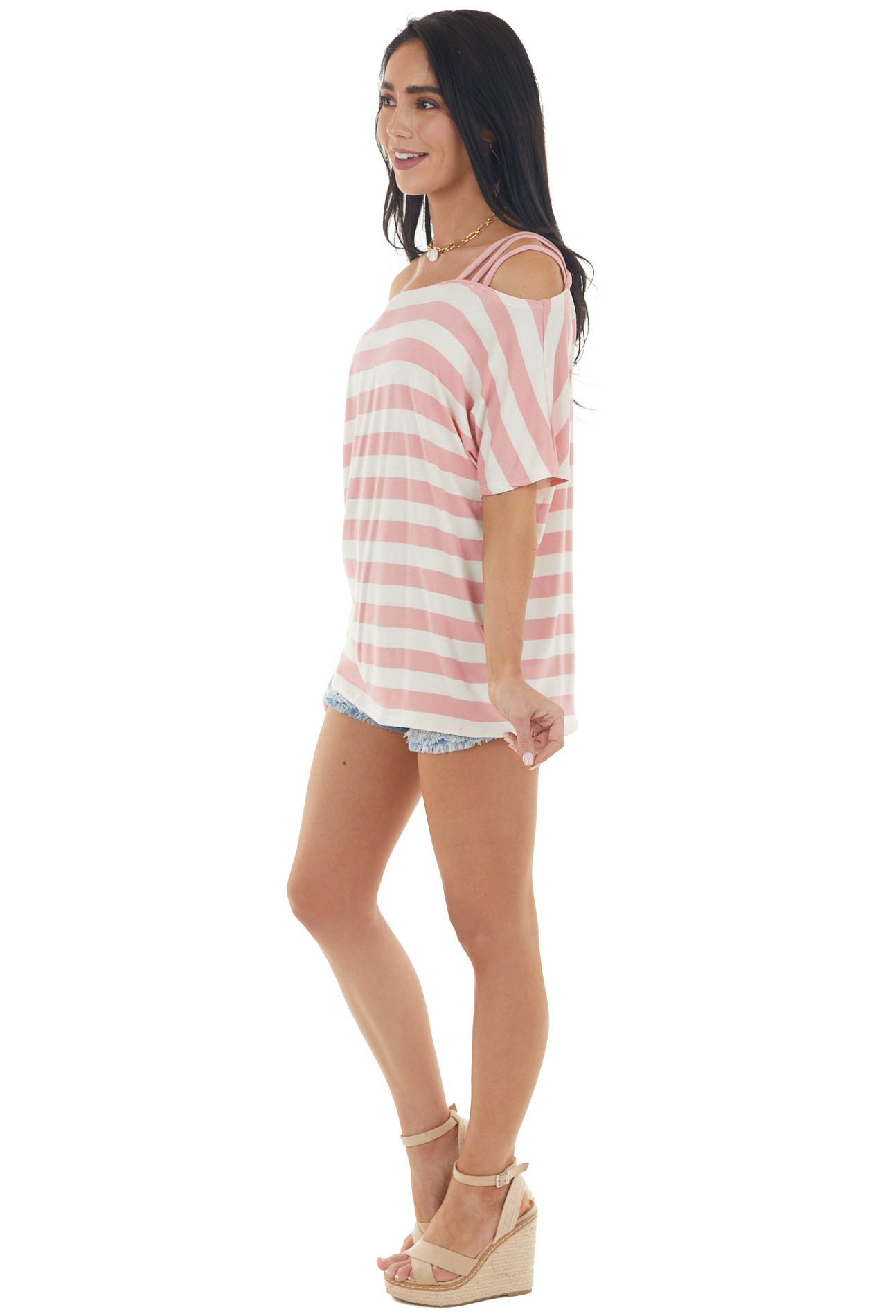 Blush Pink and Cream Striped Cold Strapped Shoulder Knit Top