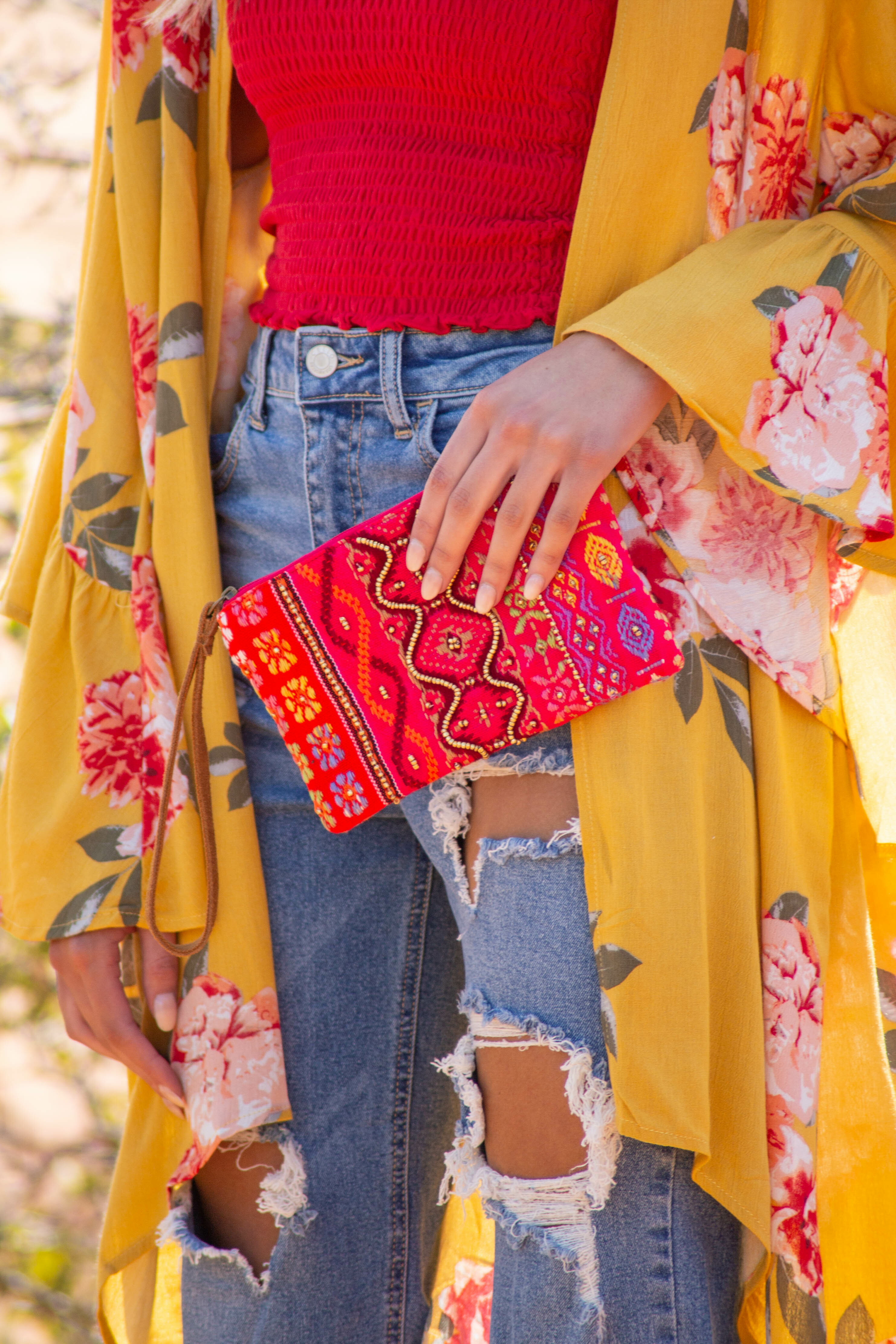 Hibiscus Thread Printed and Beaded Soft Woven Clutch Purse
