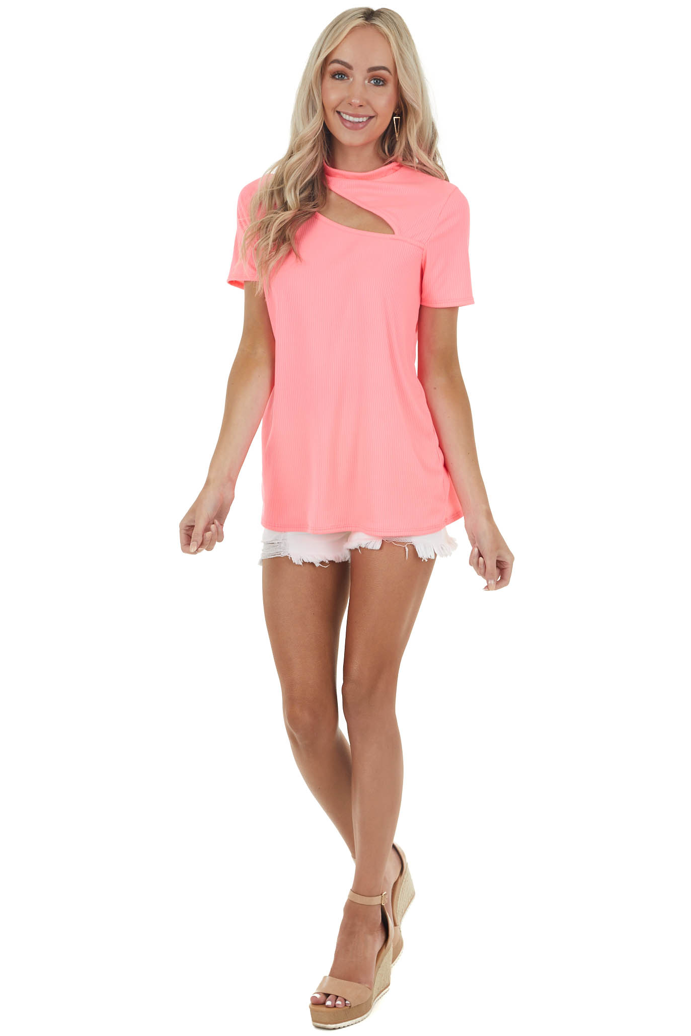 Neon Pink Ribbed Short Sleeve Knit Top with Cut Out Detail