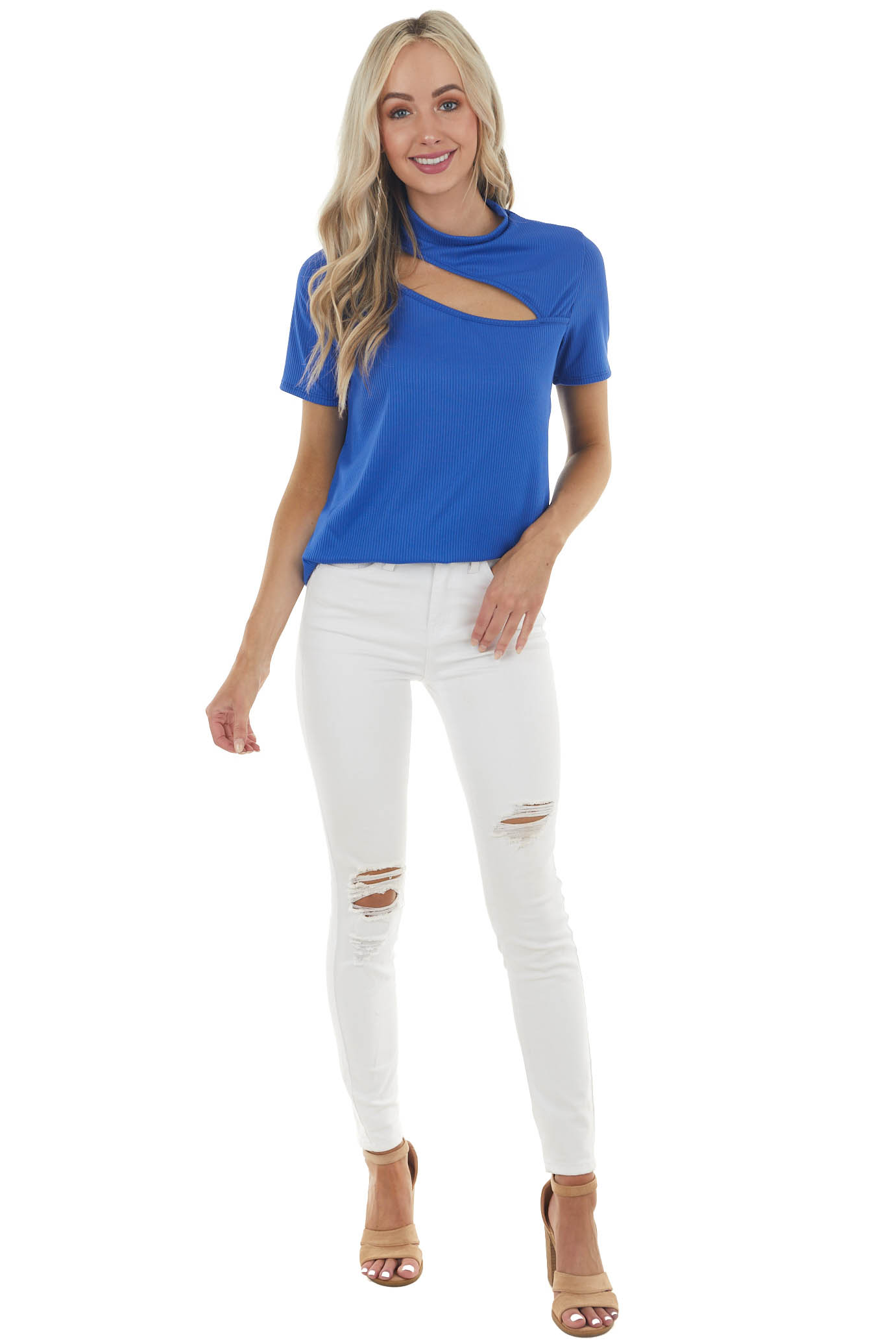 Royal Blue Ribbed Short Sleeve Knit Top with Cut Out Detail