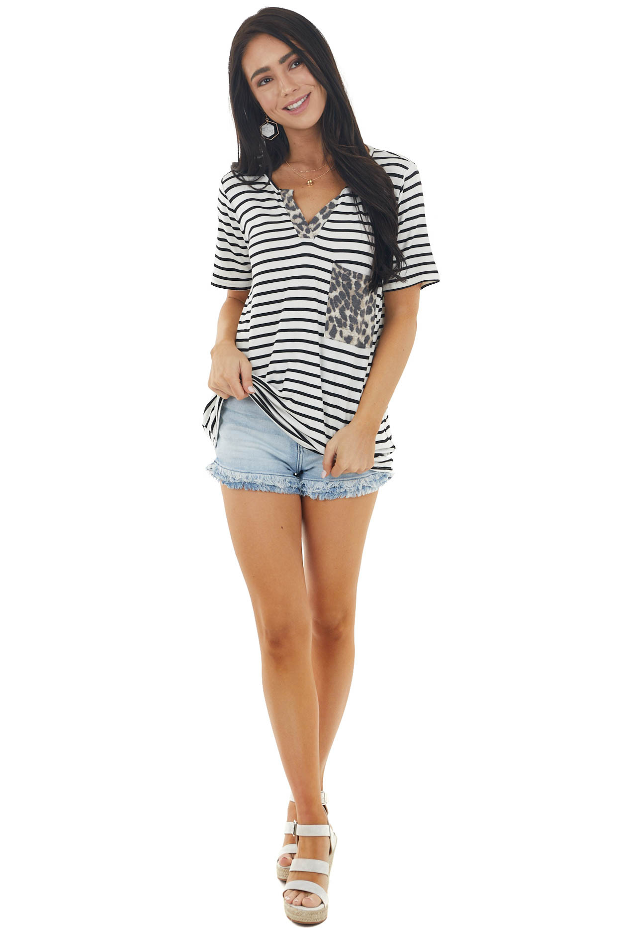 Pearl and Black Striped Short Sleeve Knit Top with Pocket
