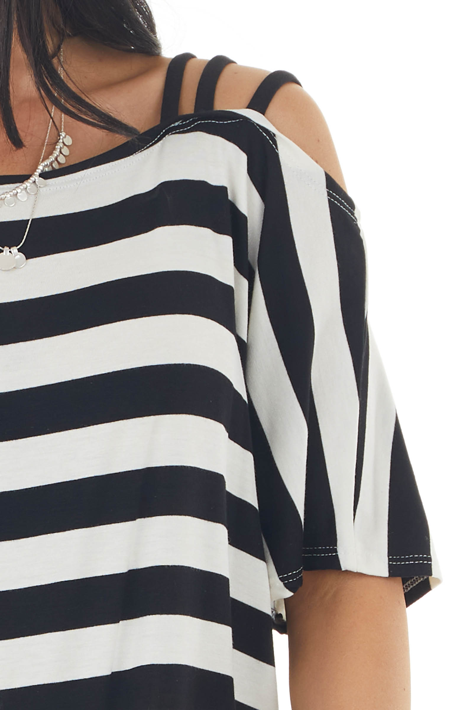 Black and Cream Striped Cold Strapped Shoulder Knit Top