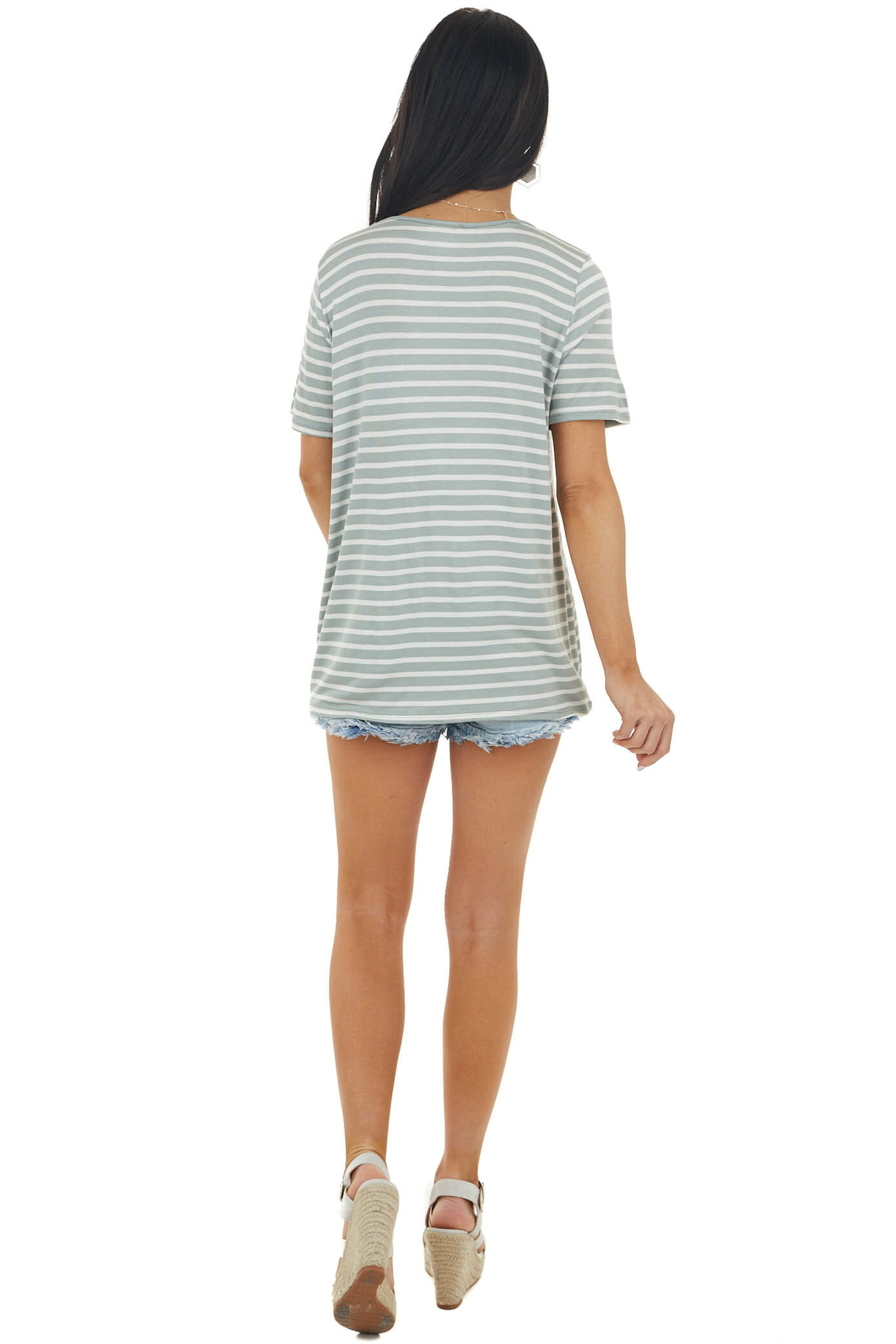 Pearl and Sage Striped Short Sleeve Knit Top with Pocket