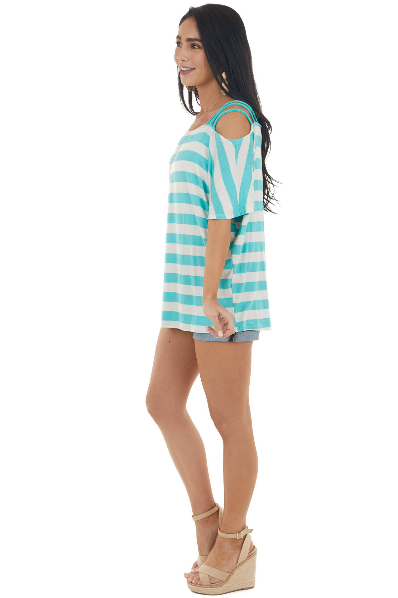 Aqua Blue and Cream Striped Cold Strapped Shoulder Knit Top