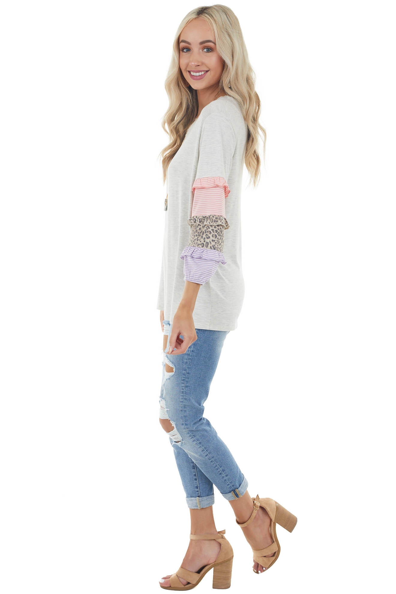 Heathered Dove Grey Knit Top with Multi Pattern Sleeves