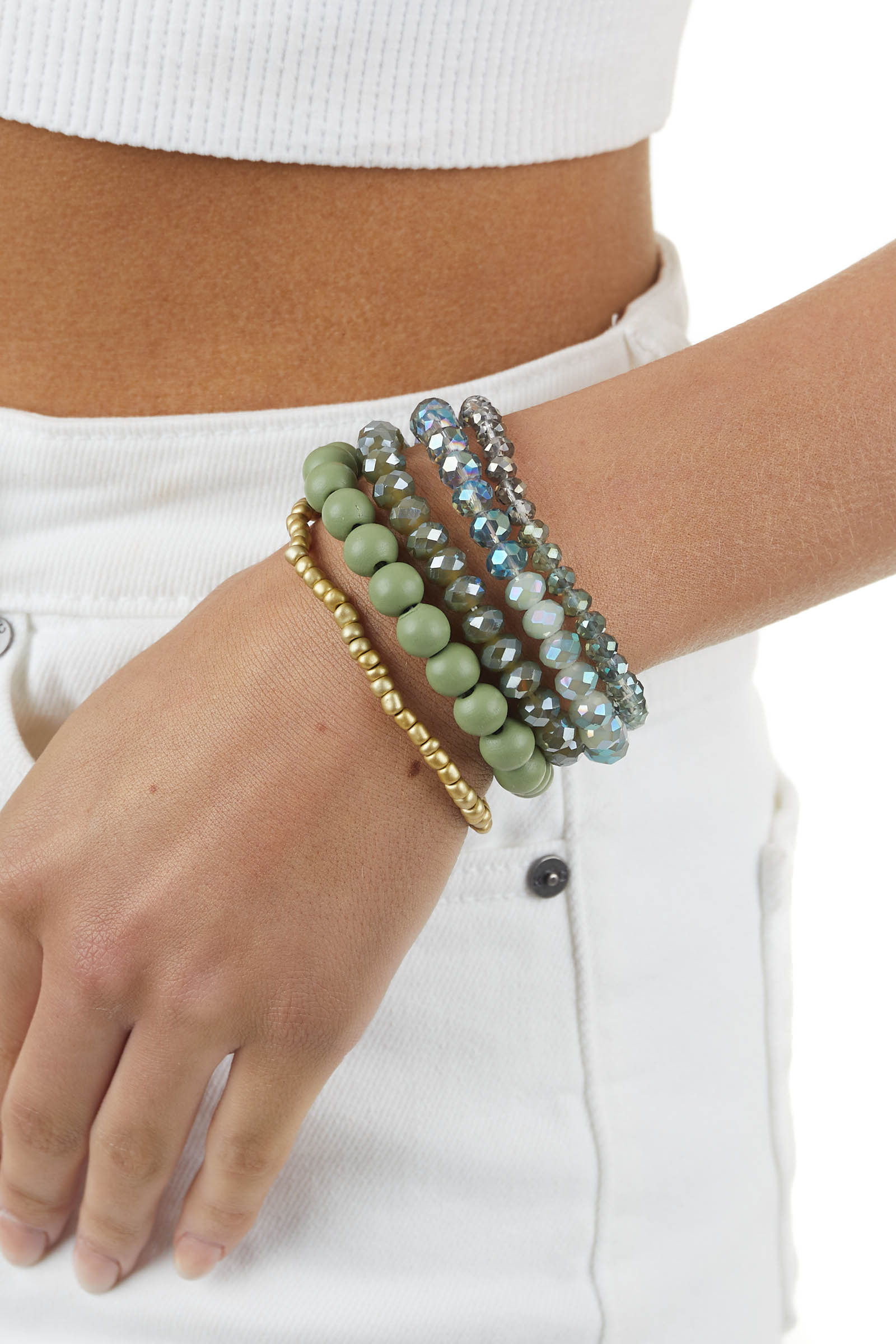Dusty Green and Gold Layered Bracelet Set with Crystal Beads