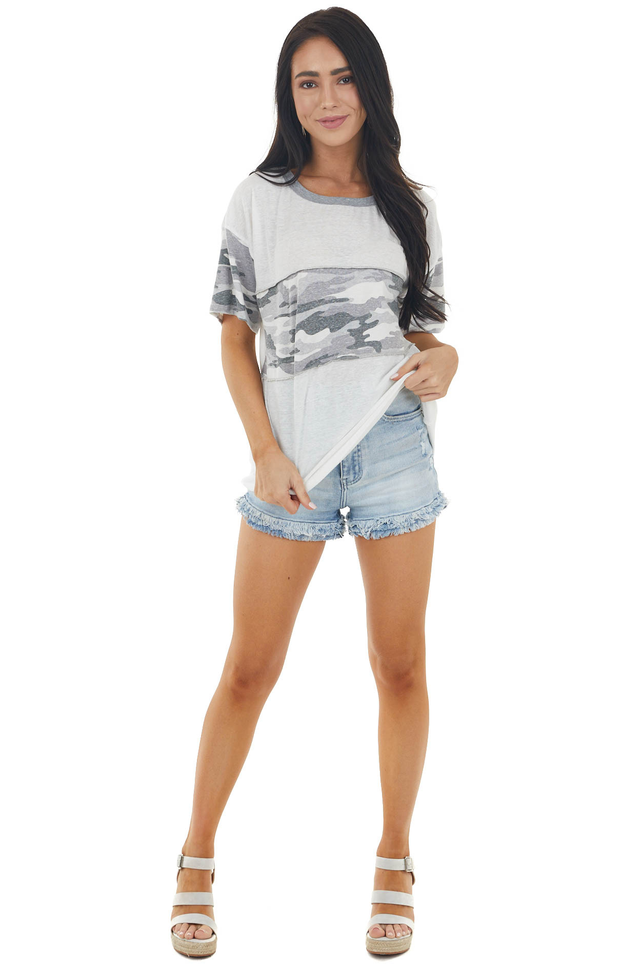Ivory Camo Print Short Sleeve Knit Top with Stitching Detail