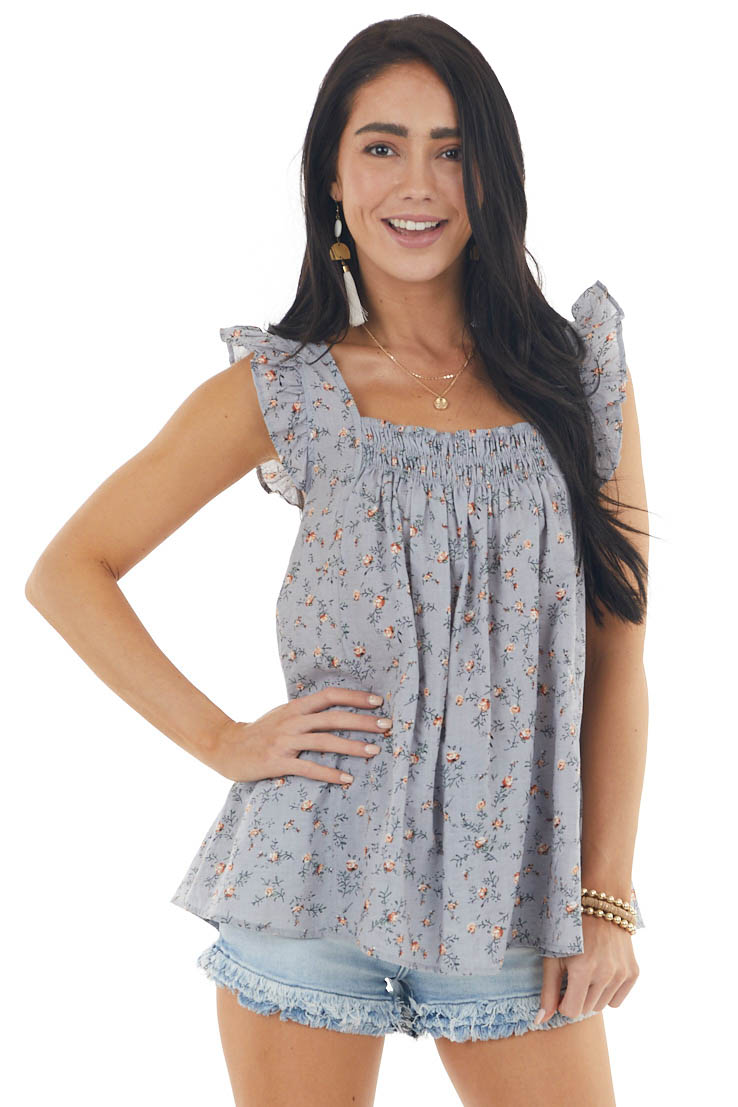 Slate Blue Ditsy Floral Print Blouse with Ruffle Straps