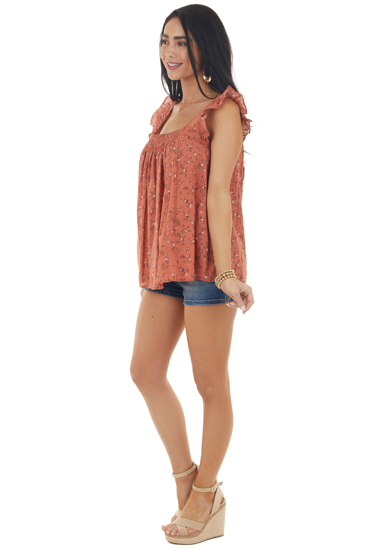 Marmalade Ditsy Floral Print Blouse with Ruffle Straps