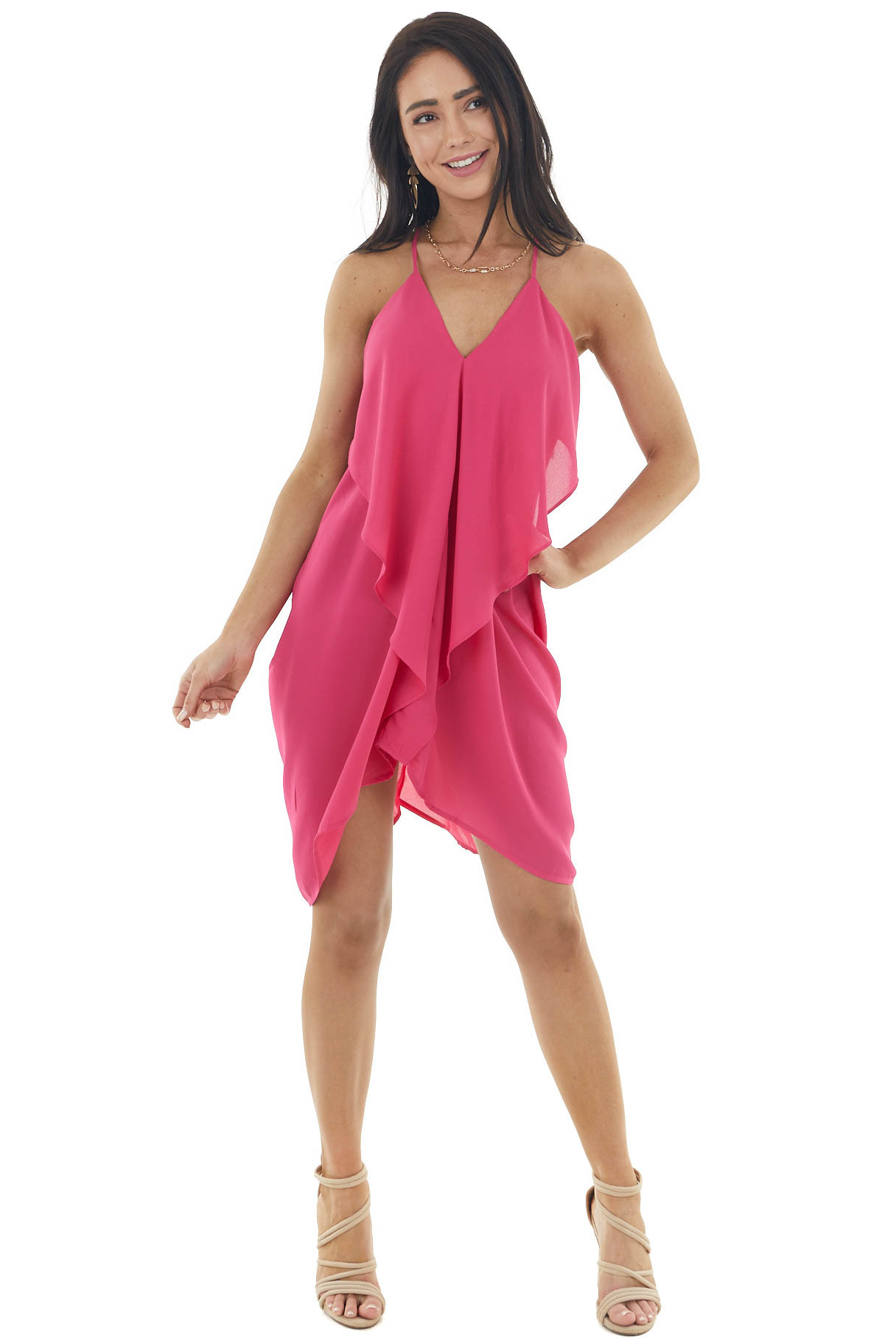 Fuchsia Short Dress with Ruffle Front and Draped Back Detail