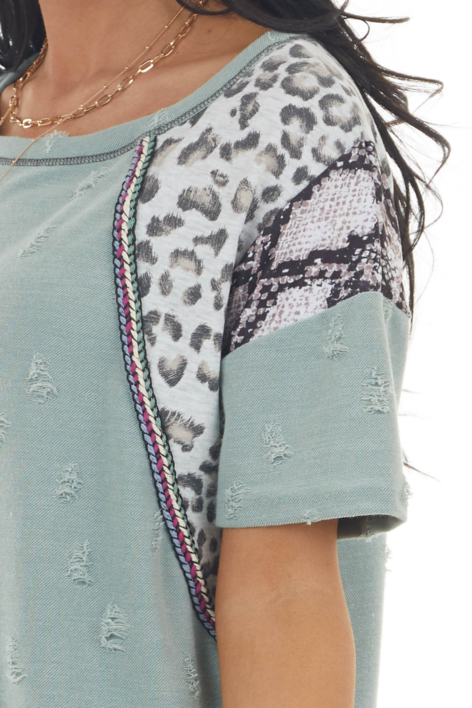 Sage Green Multiprint Short Sleeve Knit Top with Distressing