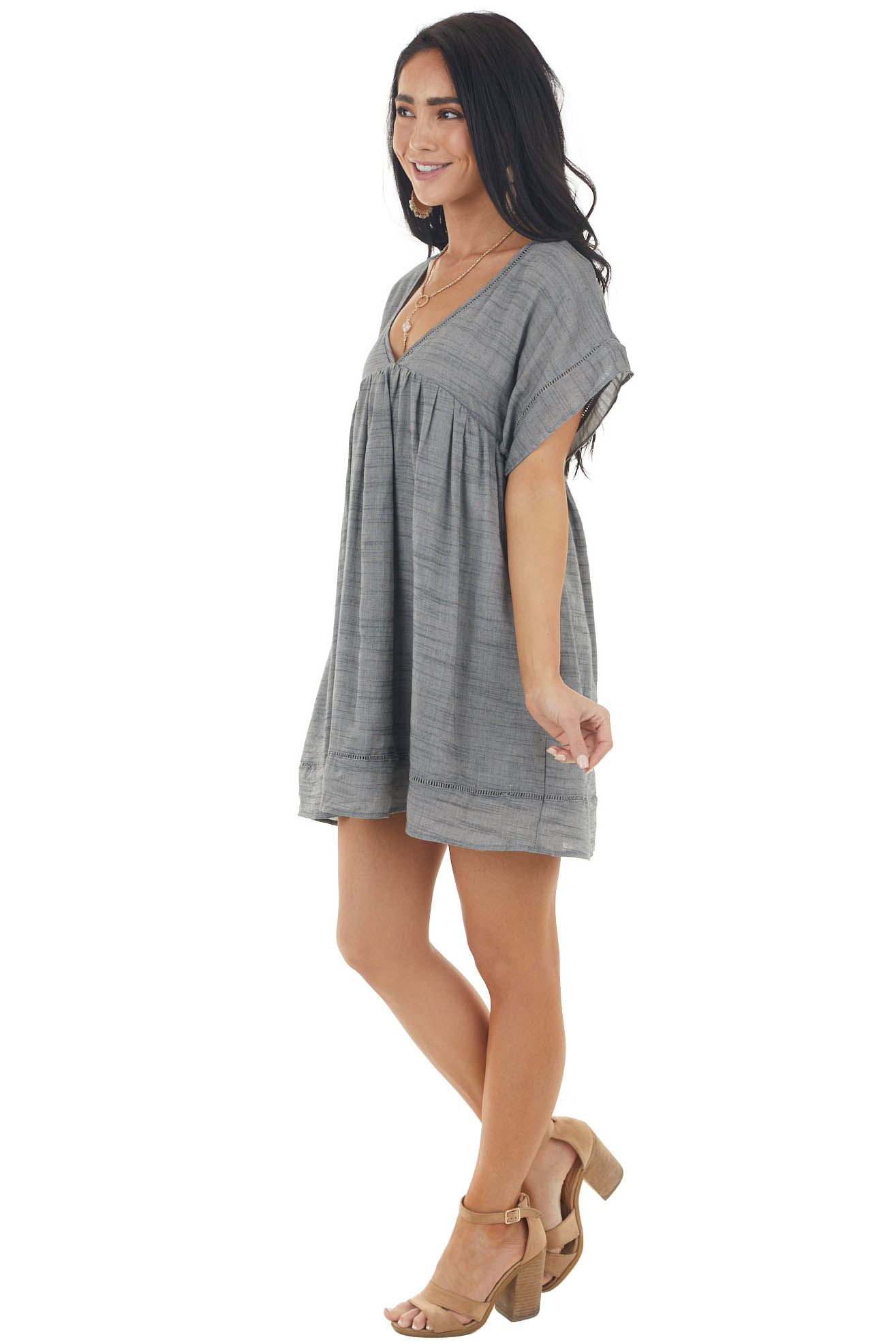 Steel Short Sleeve Woven Mini Dress with Shorts Lining