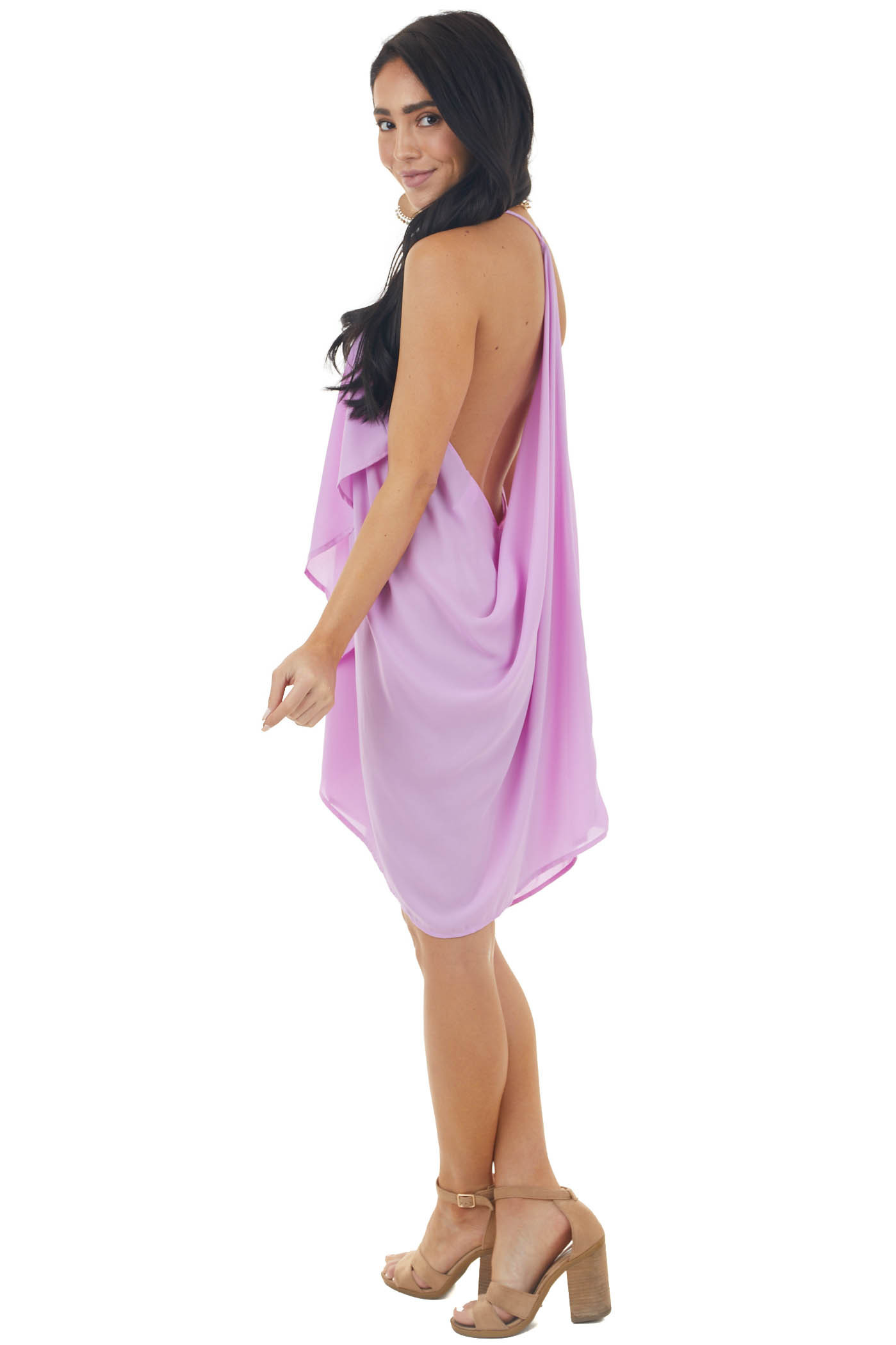 Lilac Short Dress with Ruffle Front and Draped Back Detail