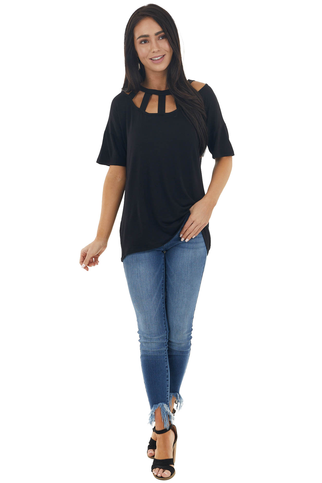 Black Short Sleeve Knit Top with Caged Neckline