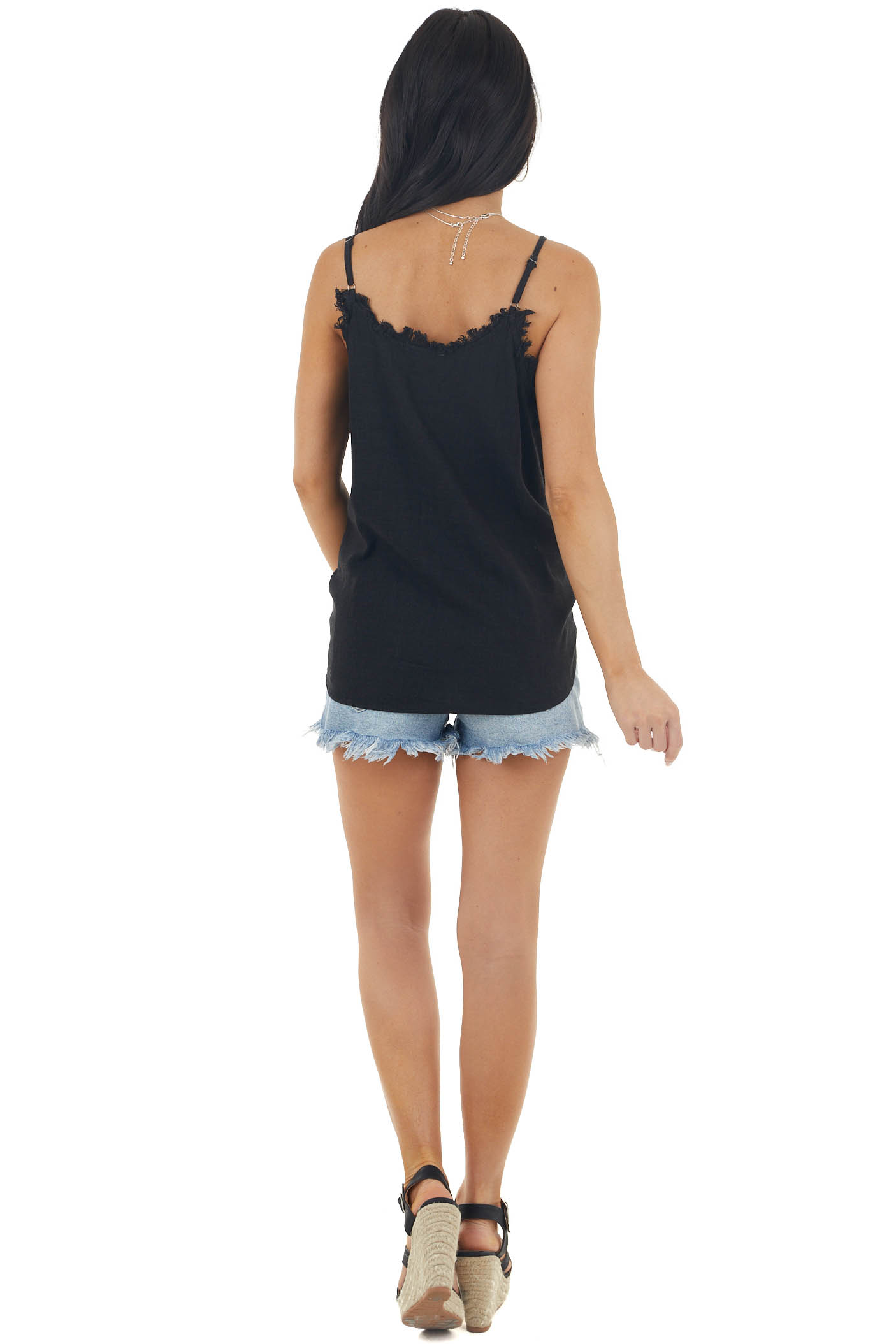 Black Textured Woven Tank with Raw Neckline and Front Tie