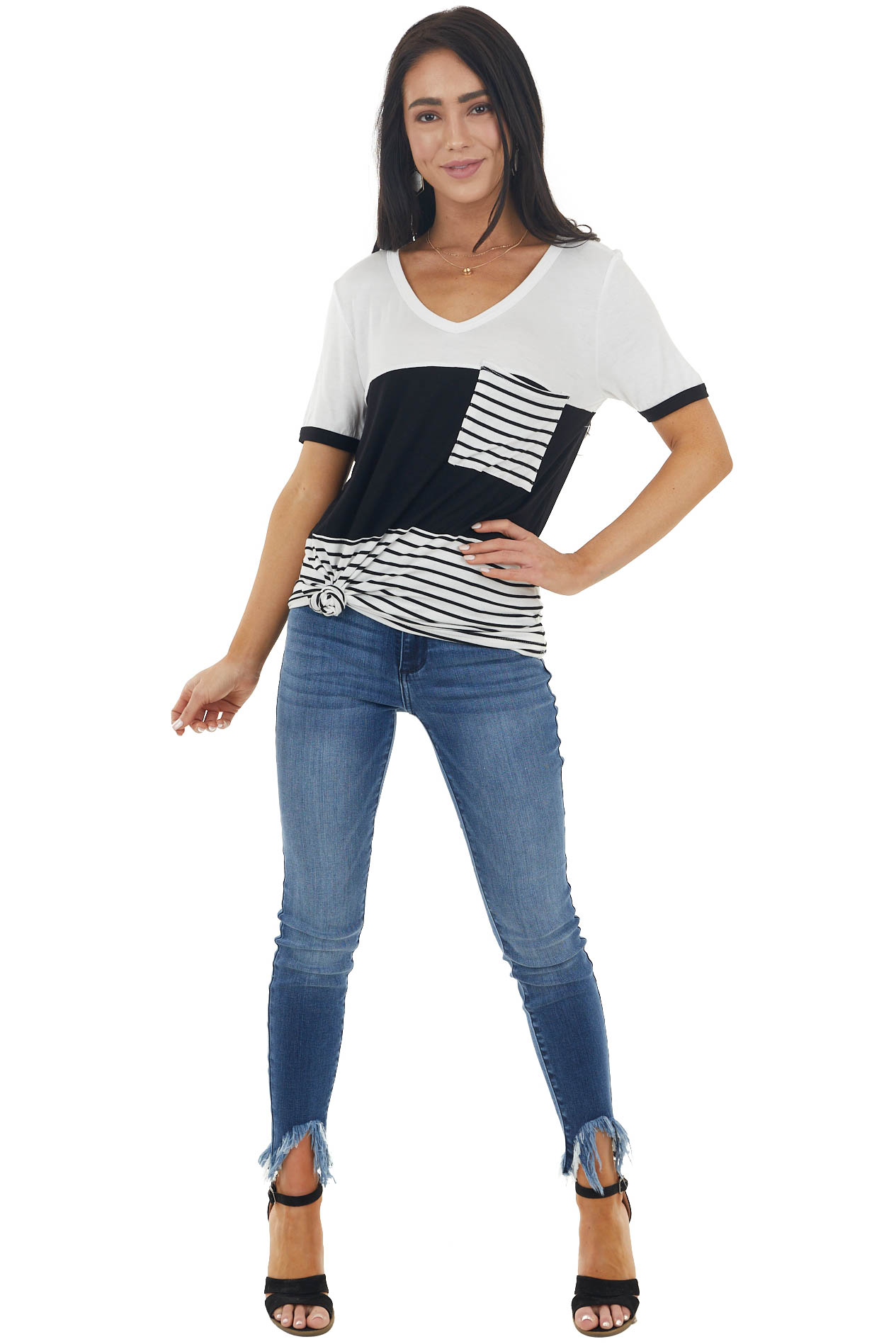Ivory and Black Colorblock Knit Top with Striped Pocket