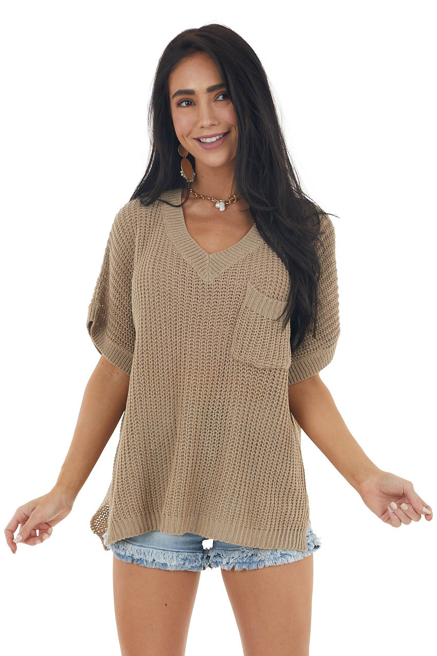 Taupe Short Sleeve Loose Knit Sweater with Front Pocket