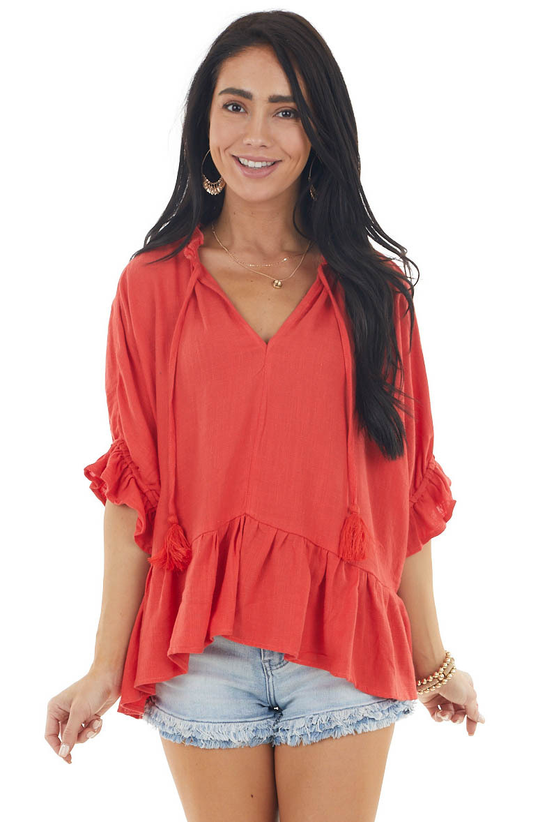 Tomato Textured Blouse with Ruffle Details and Neck Tie