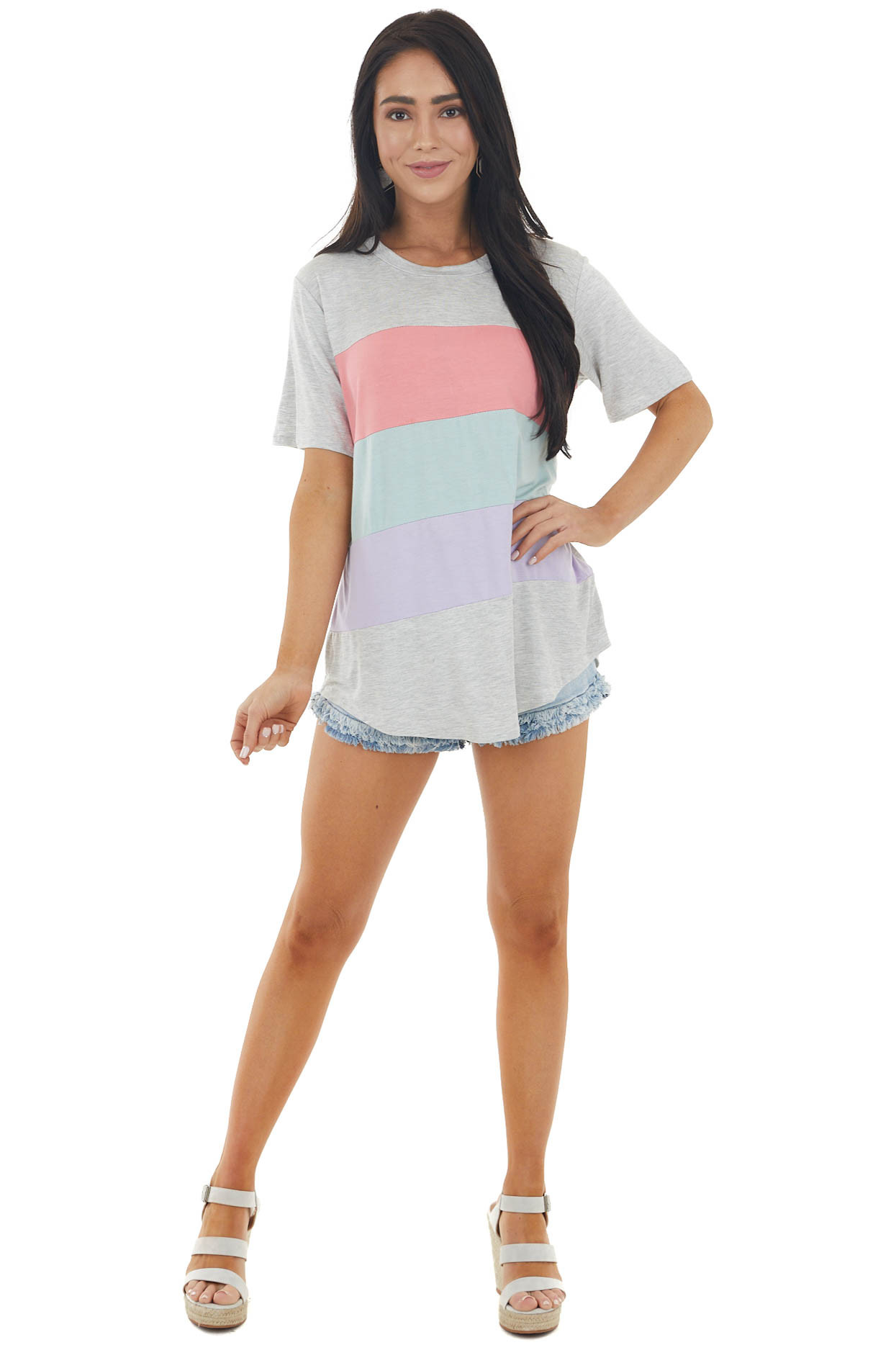 Heathered Dove Colorblock Knit Top with Short Sleeves