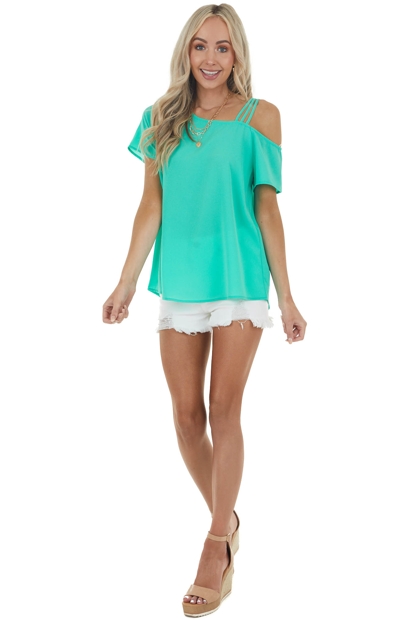 Bright Green One Shoulder Strappy Short Sleeve Top