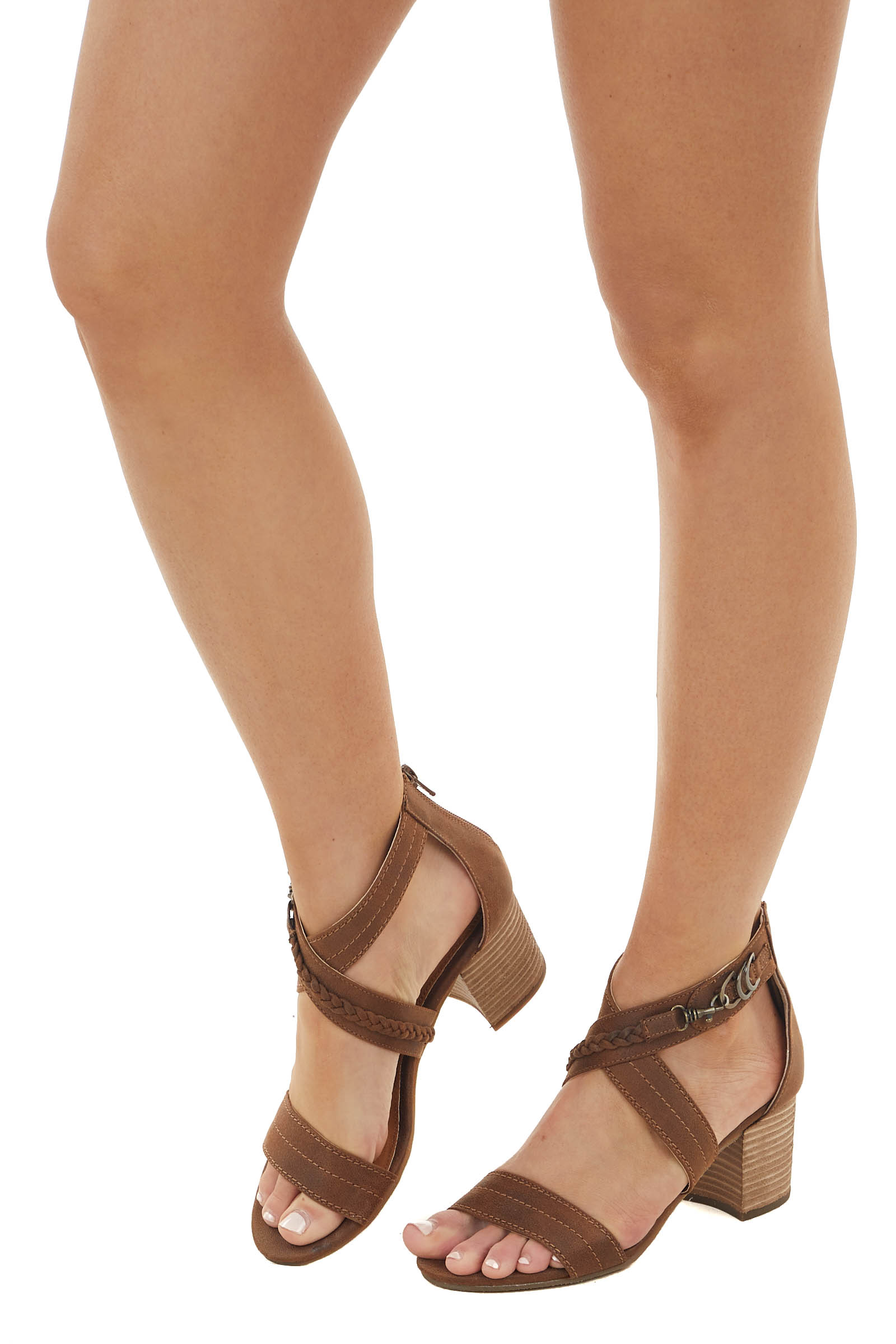 Walnut Criss Cross Strap Block Heel with Braided Detail
