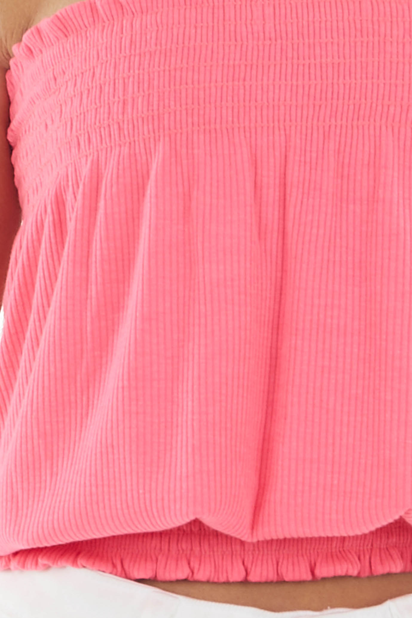 Hot Pink Sleeveless Ribbed Knit Top with Smocked Details
