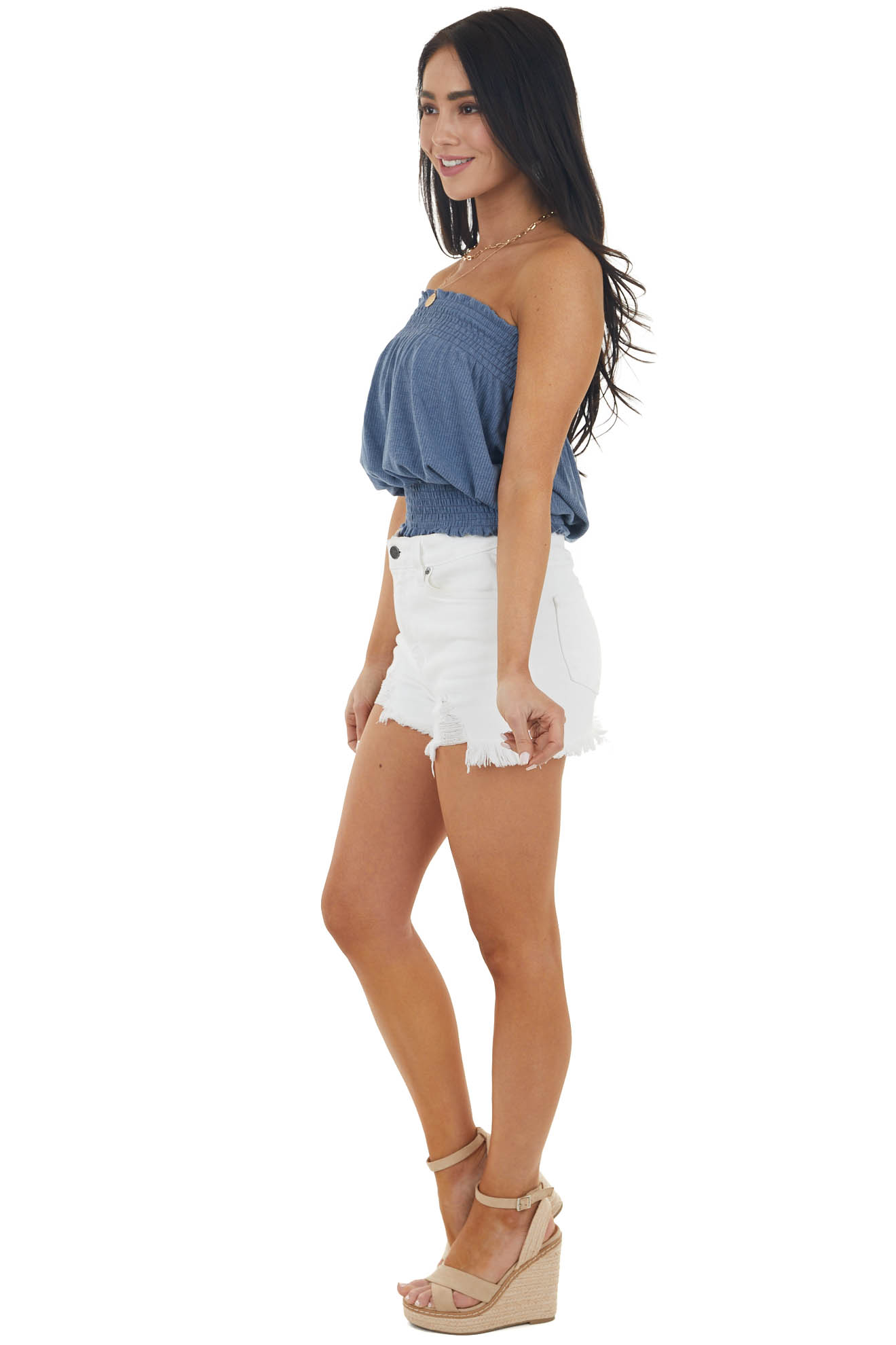 Dusty Blue Sleeveless Ribbed Knit Top with Smocked Details