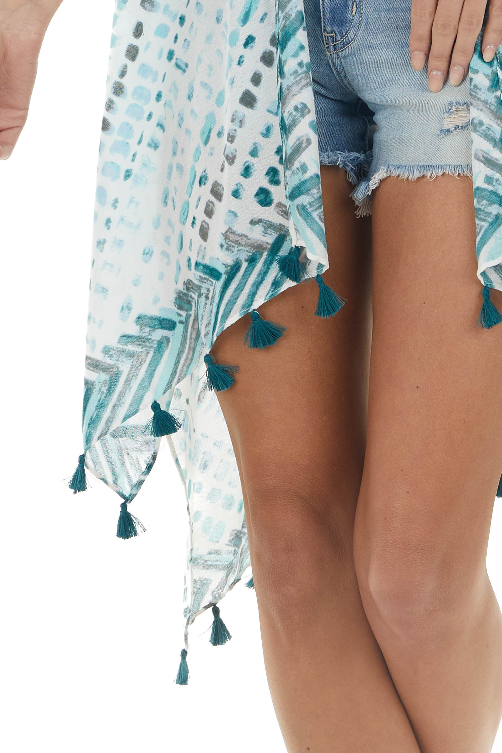 Teal and Off White Tie Dye Lightweight Kimono with Tassels