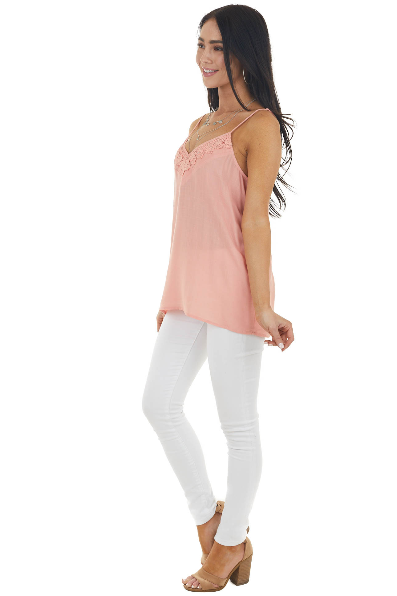 Peach V Neck Sleeveless Cami Tank Top with Lace Detail
