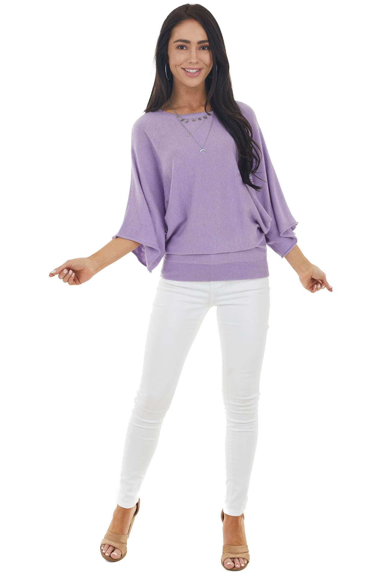Lilac Dolman Sleeve Lightweight Sweater with Boat Neckline