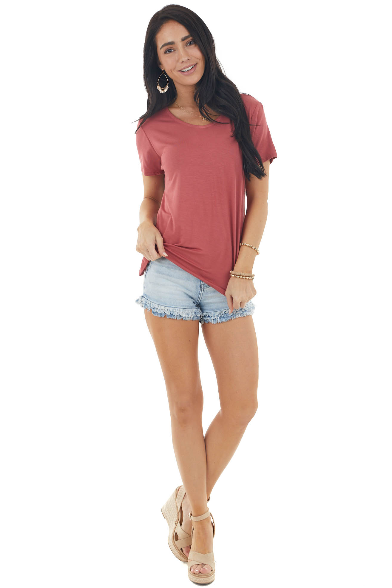 Hibiscus Short Sleeve Knit Top with Caged Back Detail