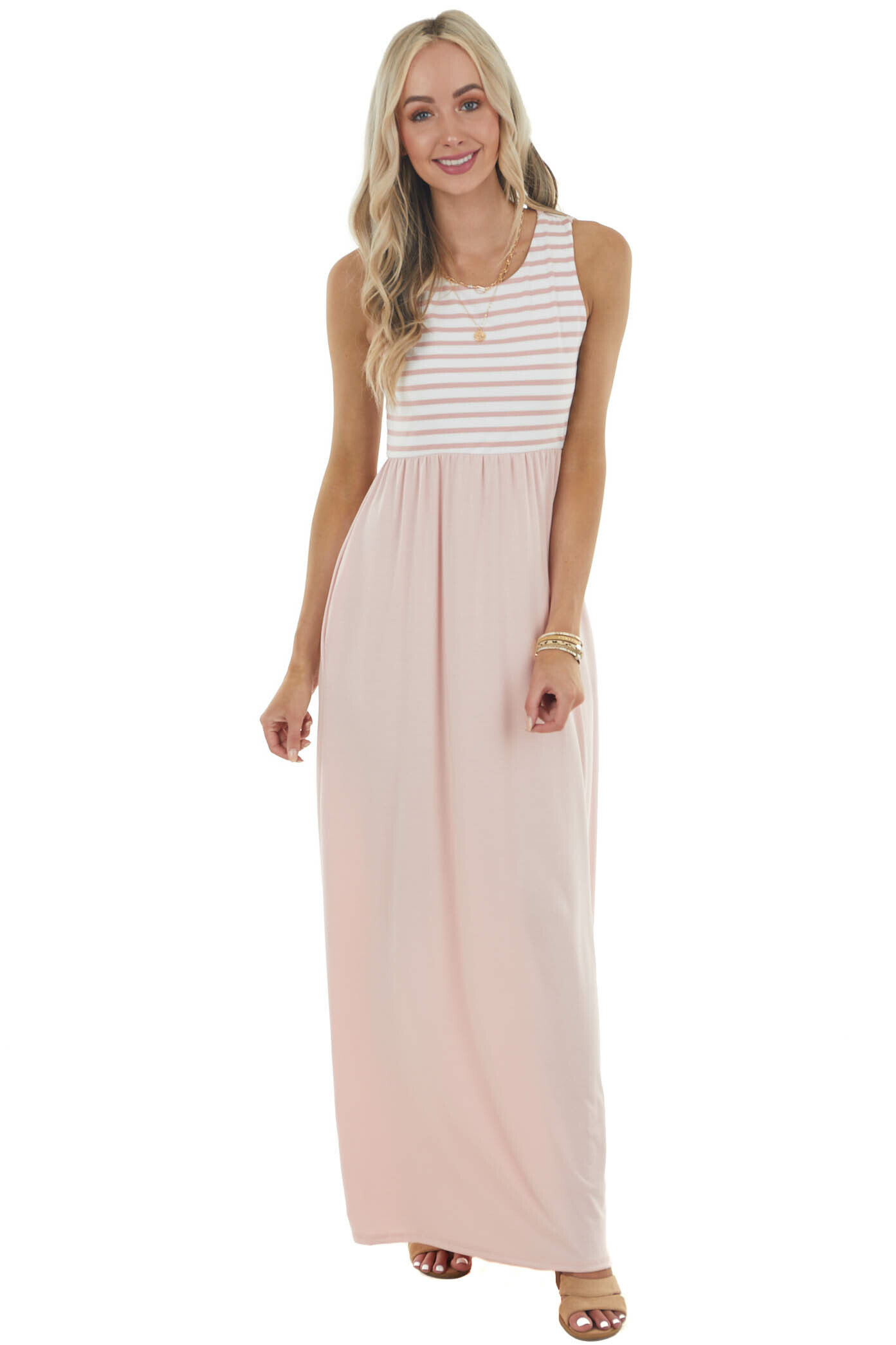 Dusty Blush Sleeveless Knit Maxi Dress with Striped Bodice