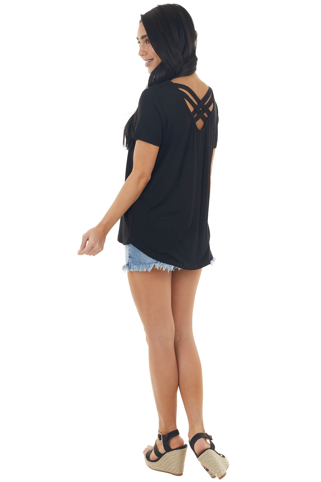 Black Short Sleeve Knit Top with Caged Back Detail