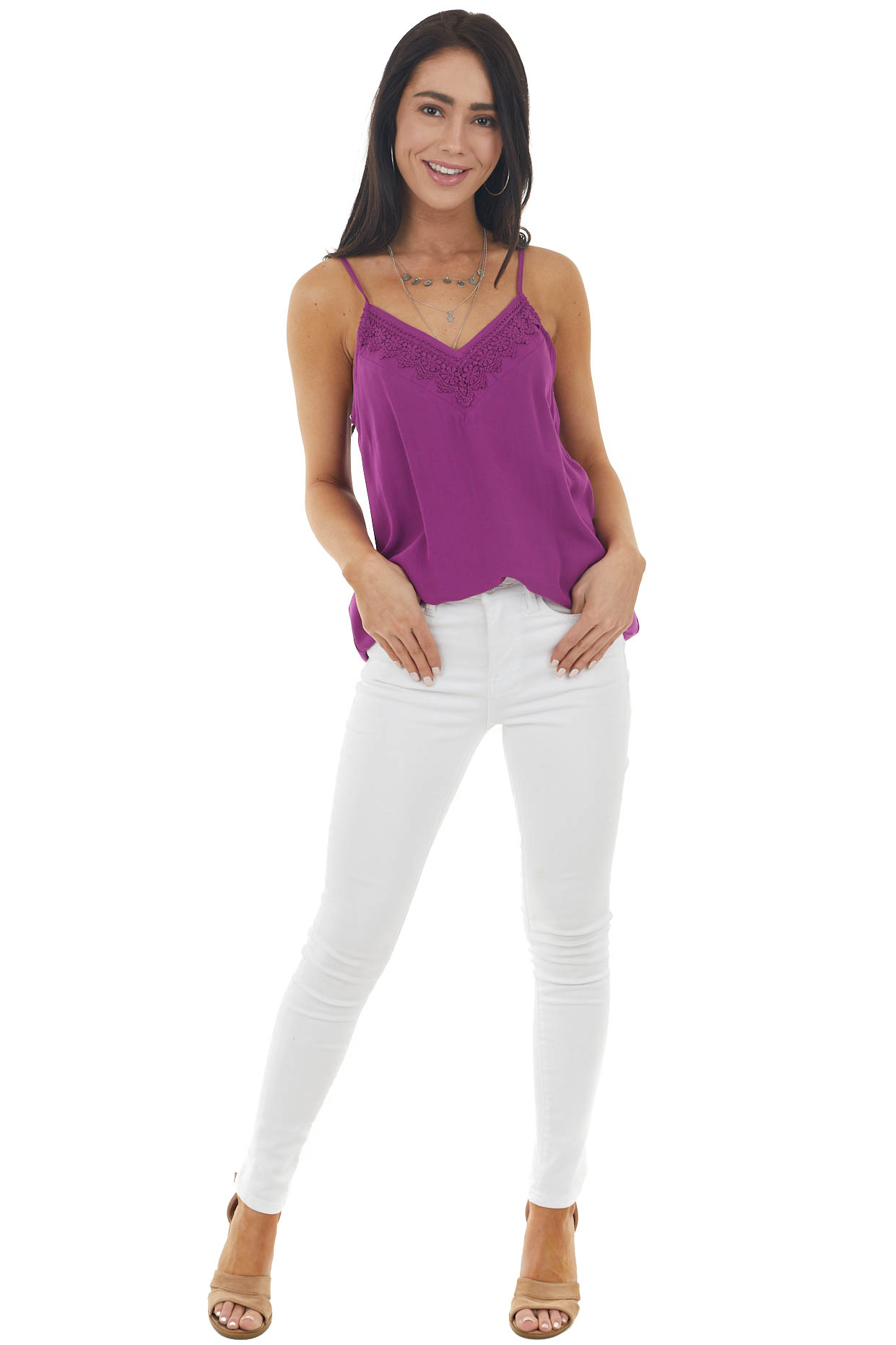 Plum V Neck Sleeveless Cami Tank Top with Lace Detail