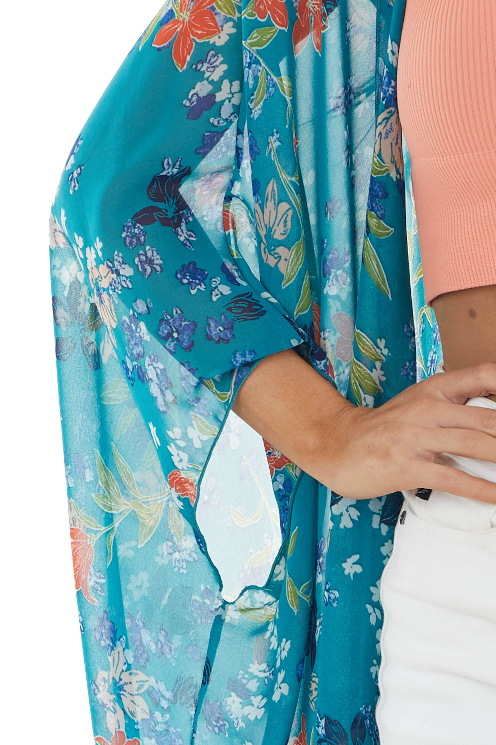 Dark Teal Floral Print Open Front Kimono with 3/4 Sleeves