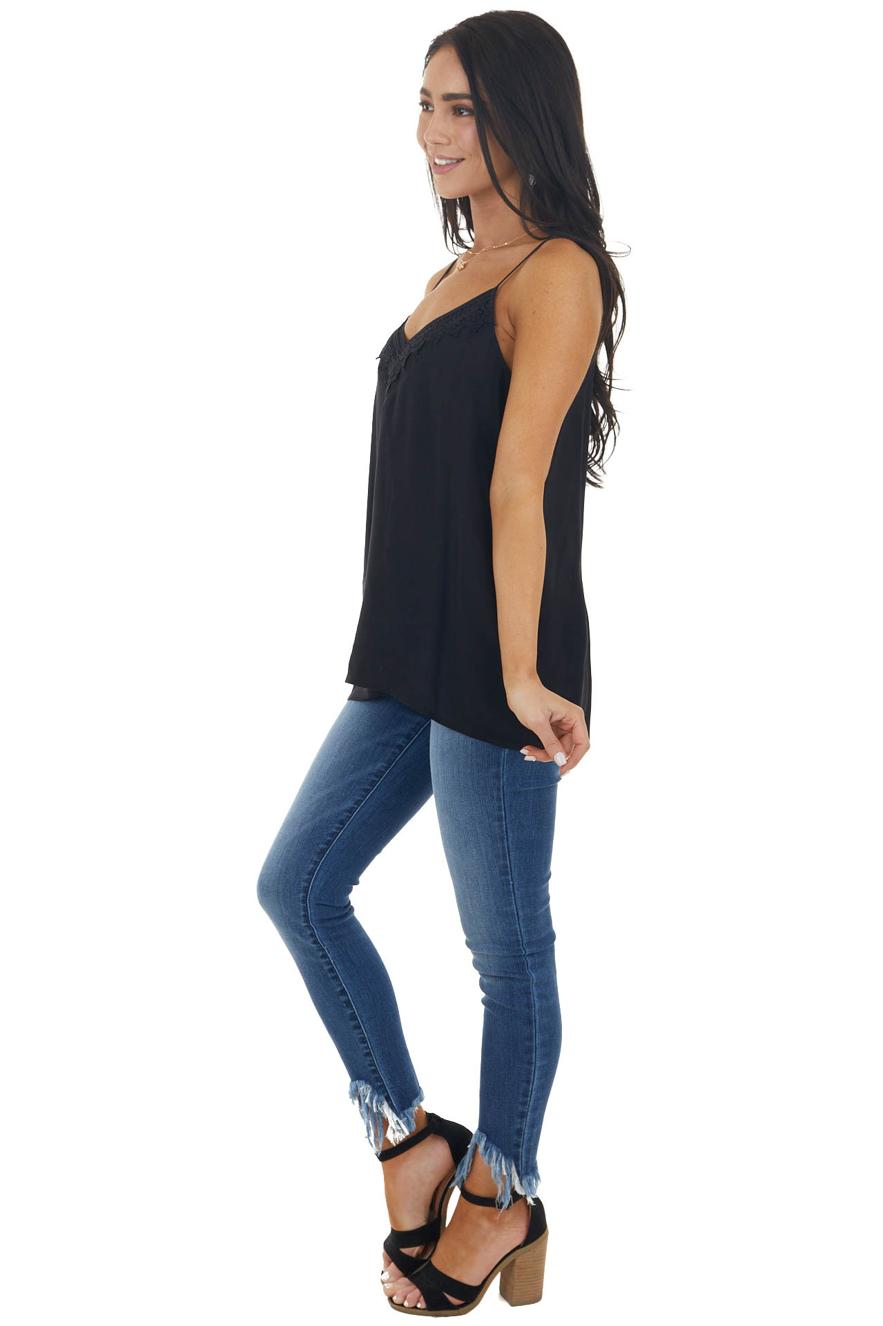Black V Neck Sleeveless Cami Tank Top with Lace Detail