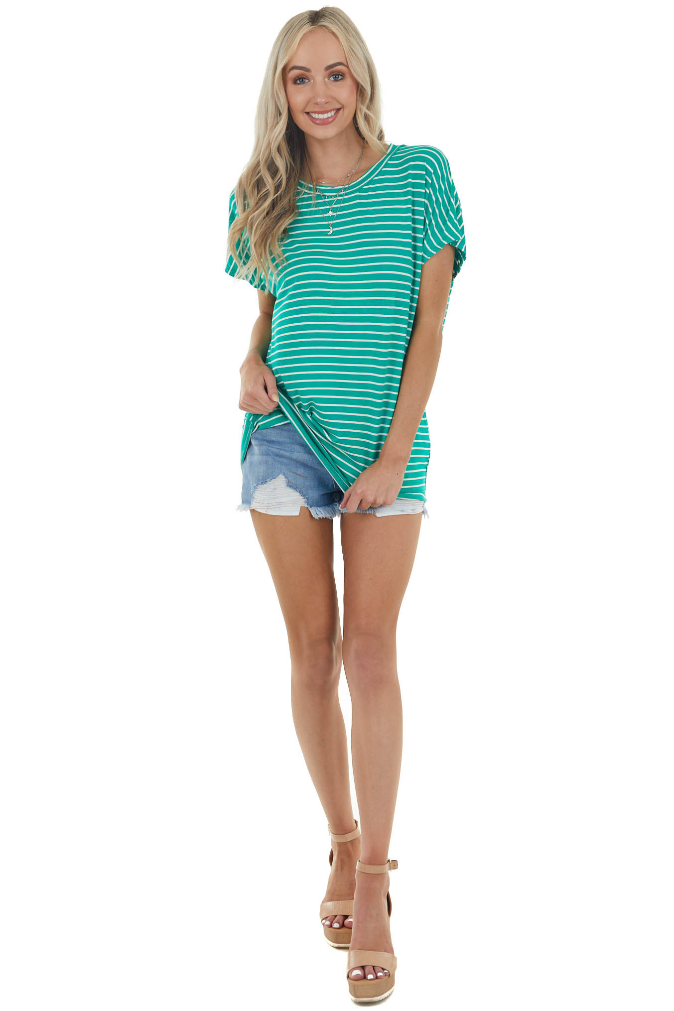 Jade Green Striped Short Sleeve Oversized Soft Knit Top