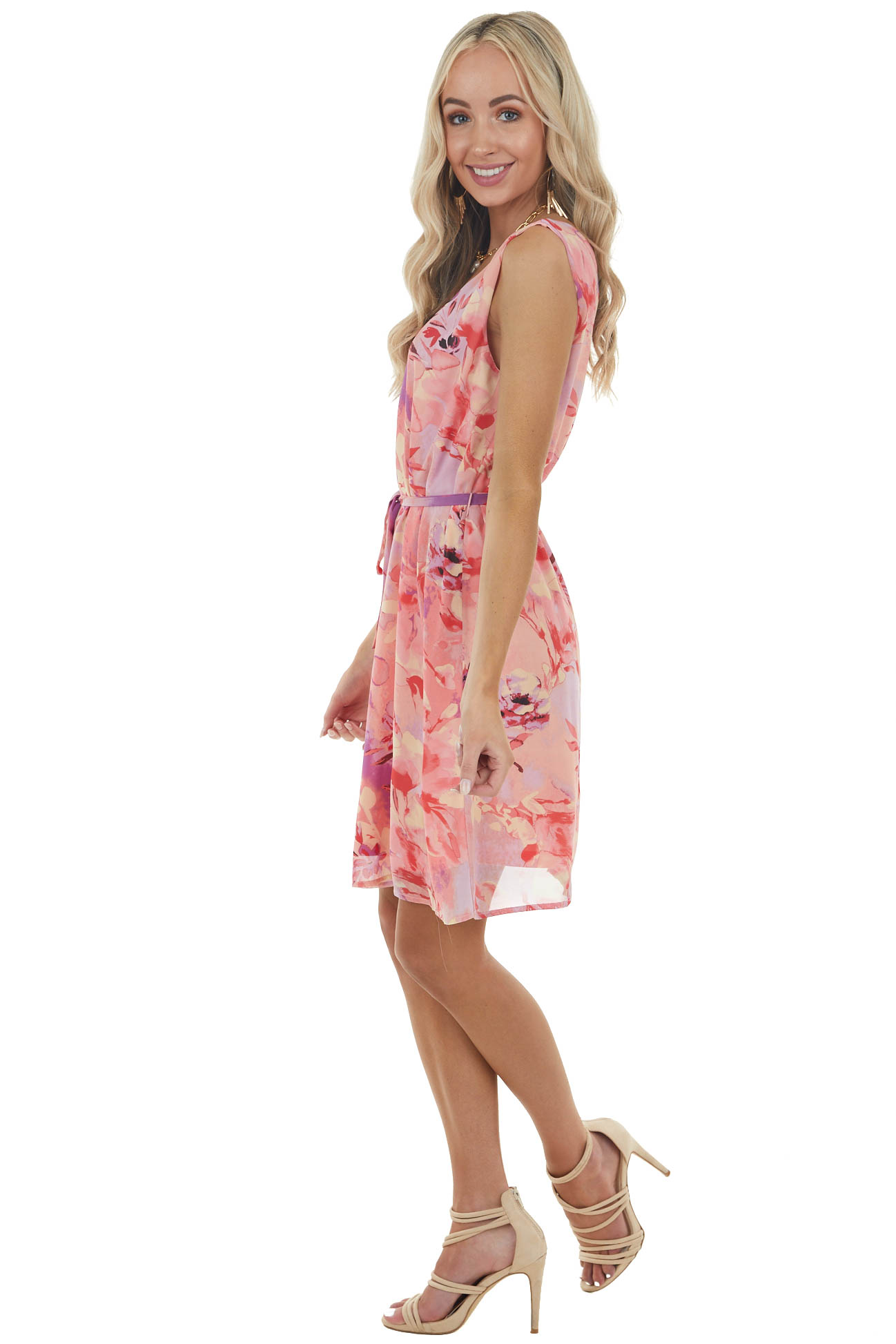 Coral Abstract Floral Print Sleeveless V Neck Short Dress