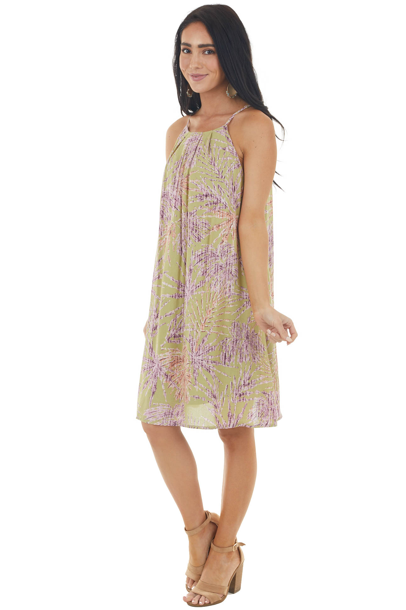 Pistachio Tropical Print Short Dress with Halter Neckline