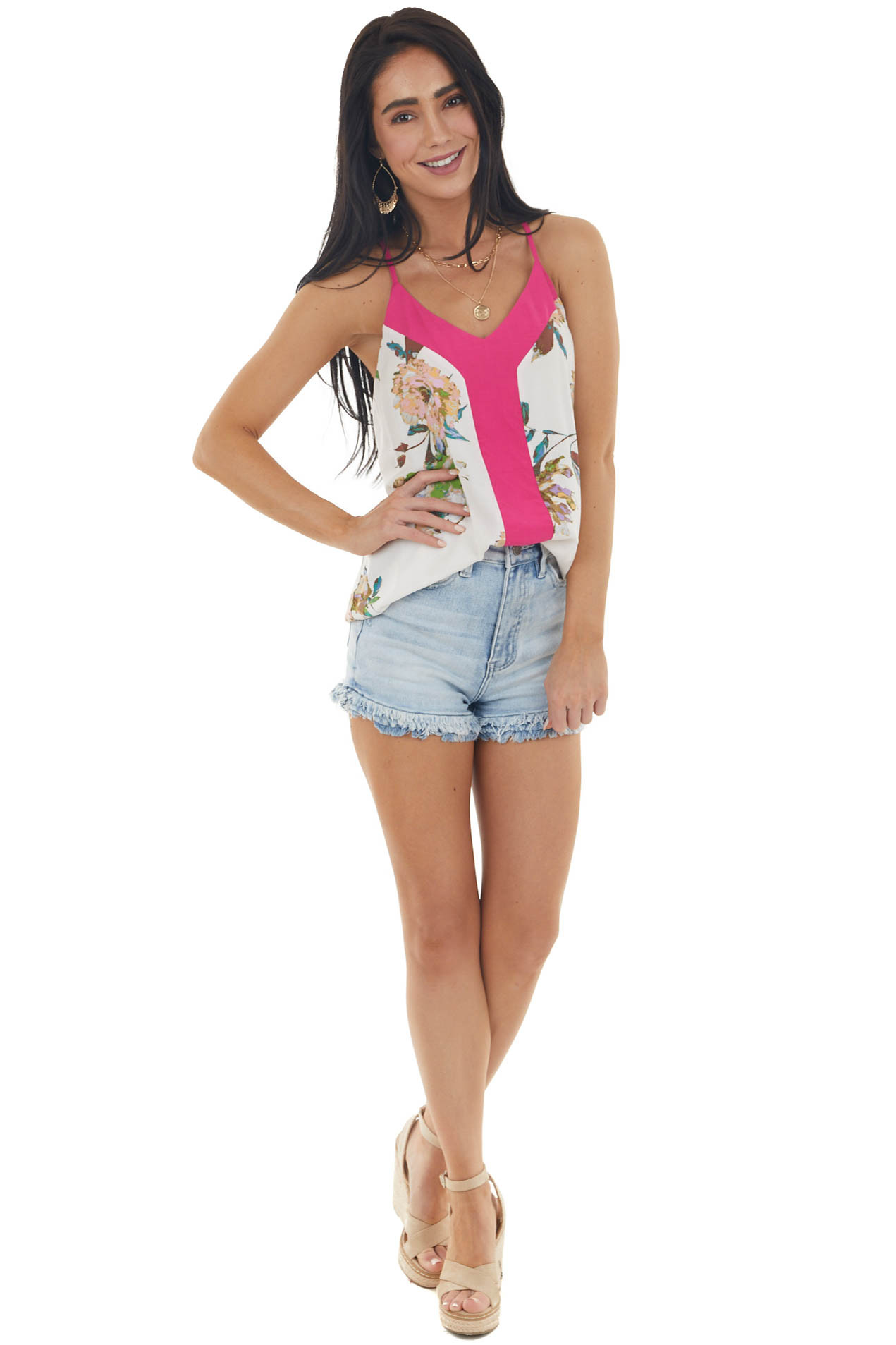 Ivory Floral Print Sleeveless Top with Fuchsia Contrast