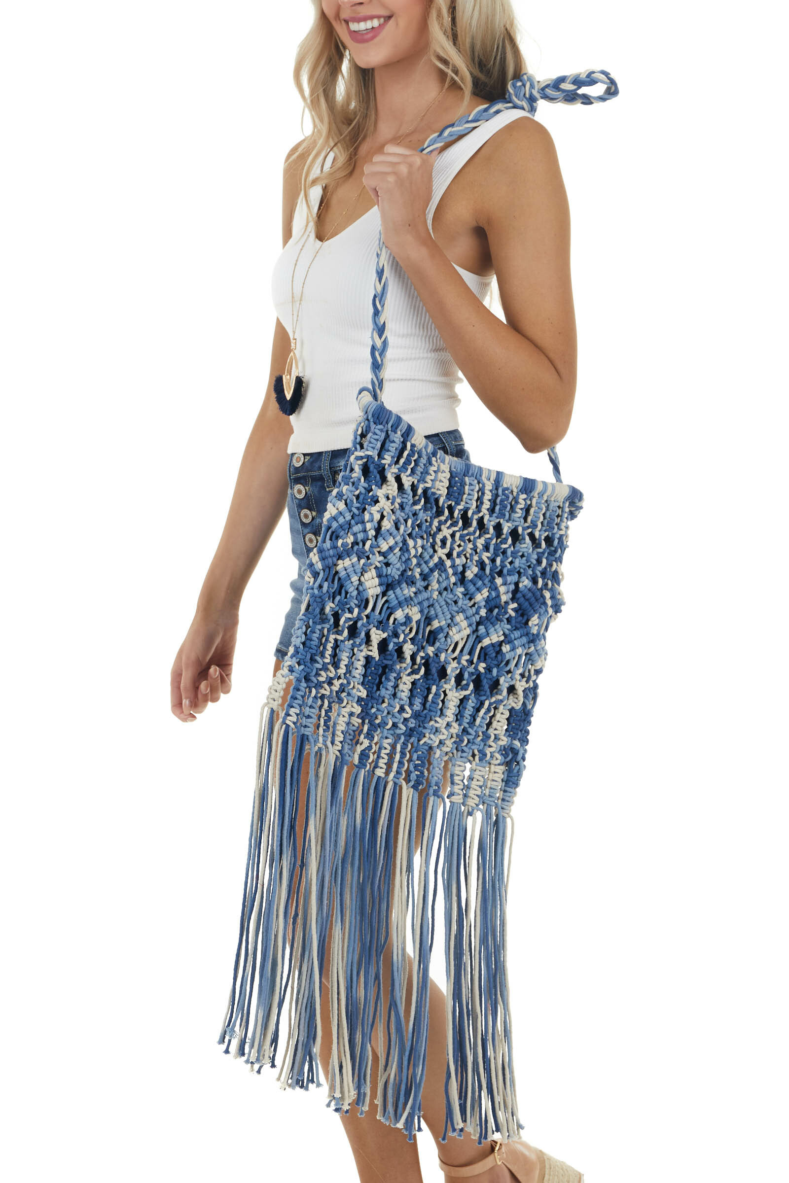 Dusty Blue Boho Macrame Crossbody Bag with Long Fringe