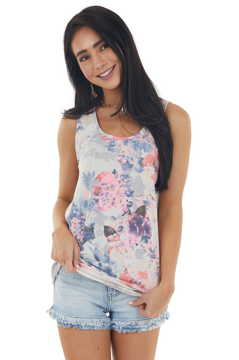 Coconut Floral Print Lightweight Sleeveless Knit Top