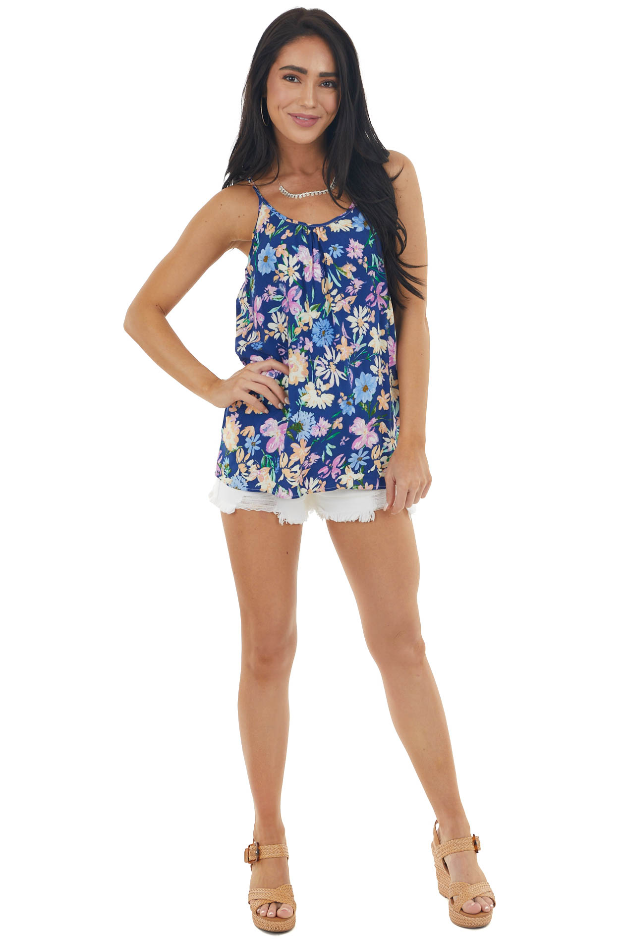 Navy Floral Print Sleeveless Top with Back Cutout Detail