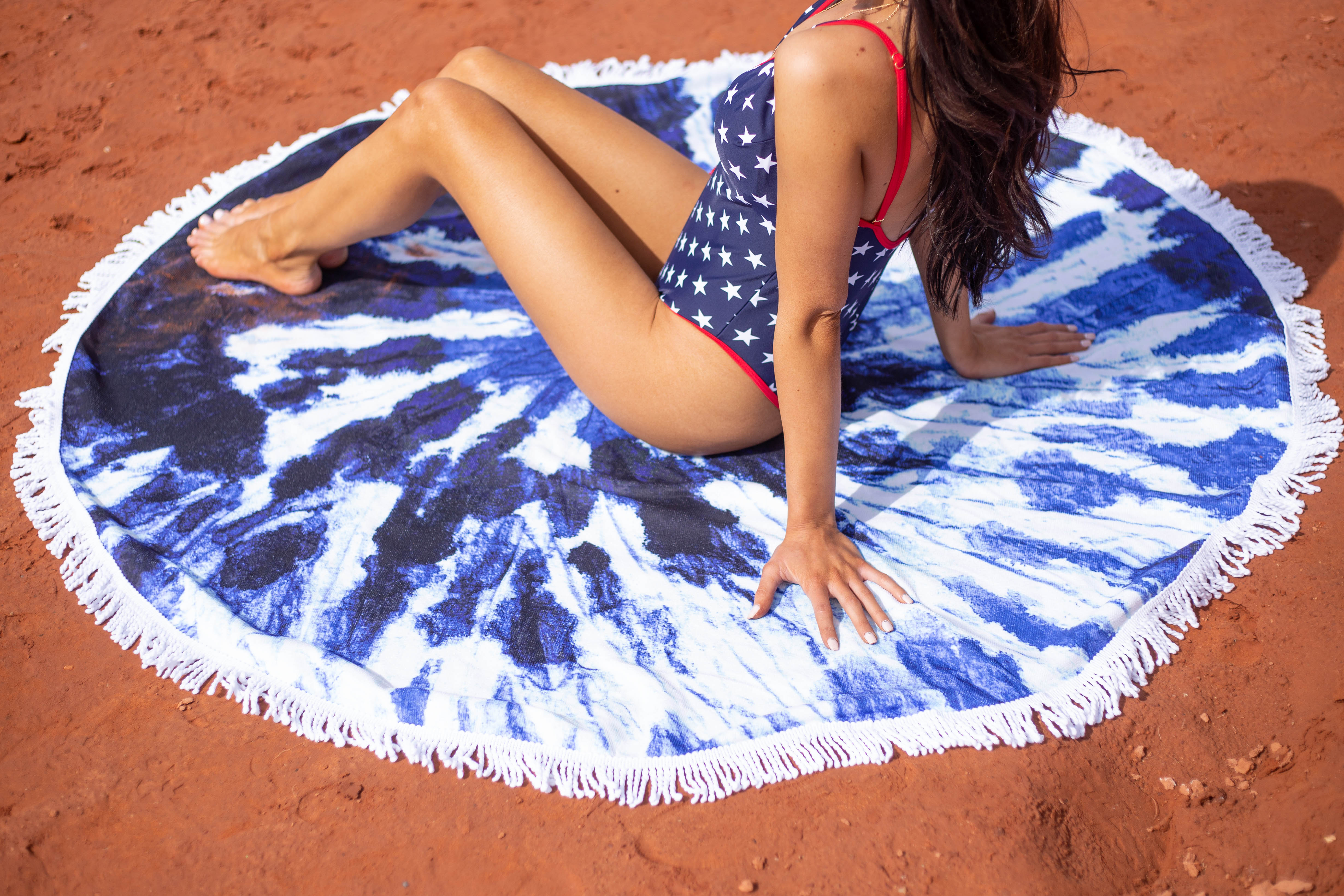 Royal Blue Tie Dye Rounded Beach Towel with Fringe Details