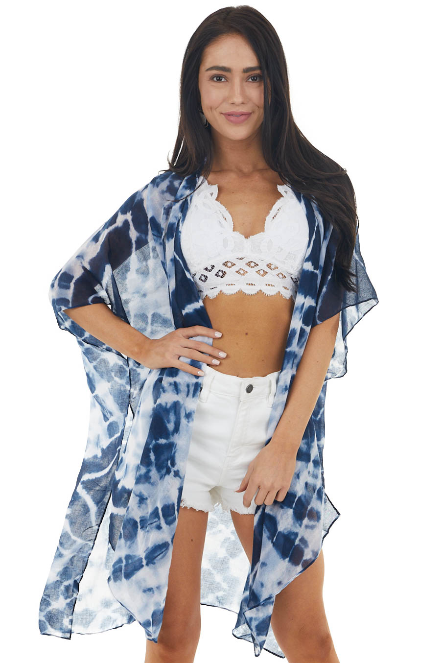 Navy Tie Dye Half Sleeve Open Front Kimono with Side Slits