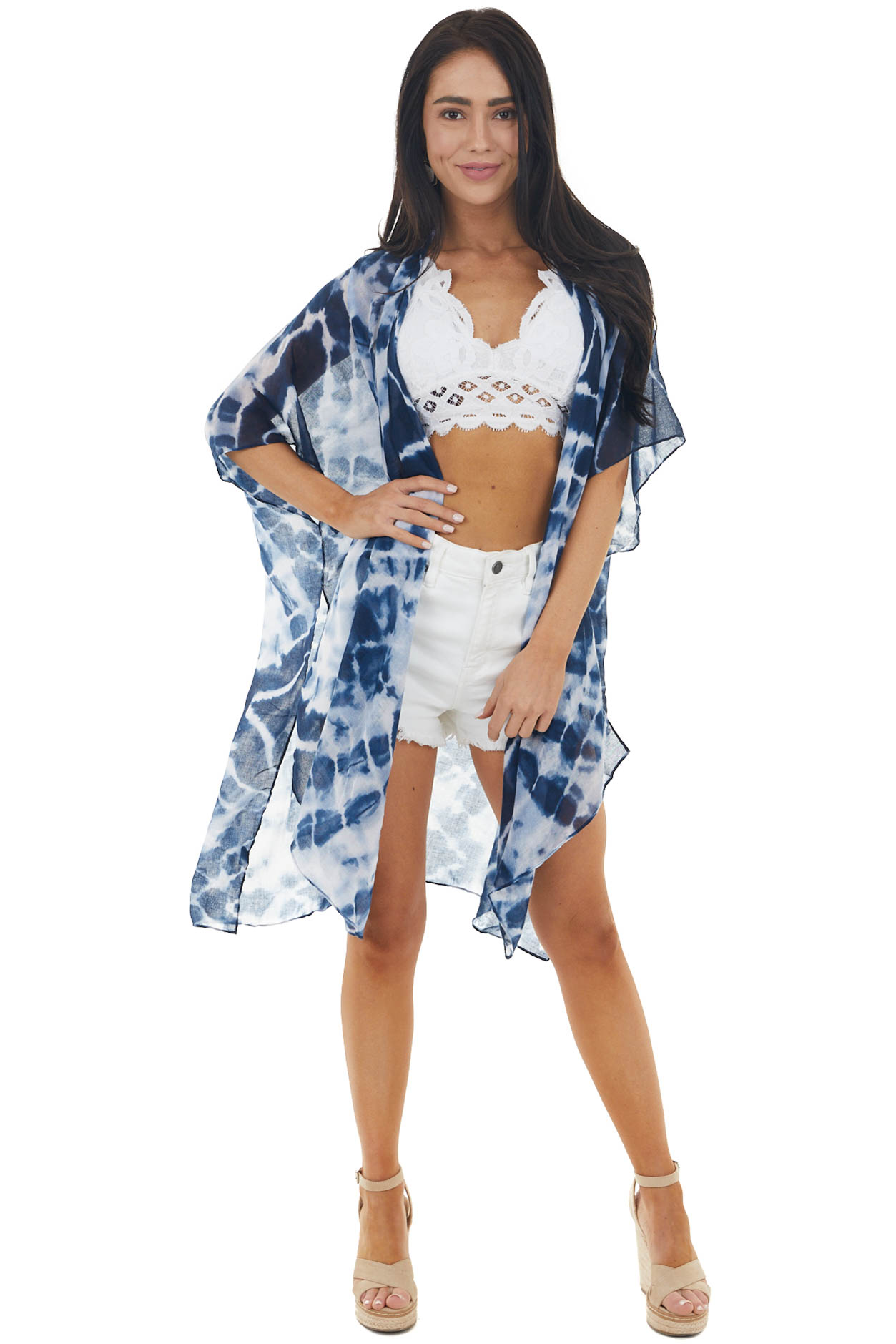 Navy Tie Dye Half Sleeve Open Front Kimono with Side Slitsv