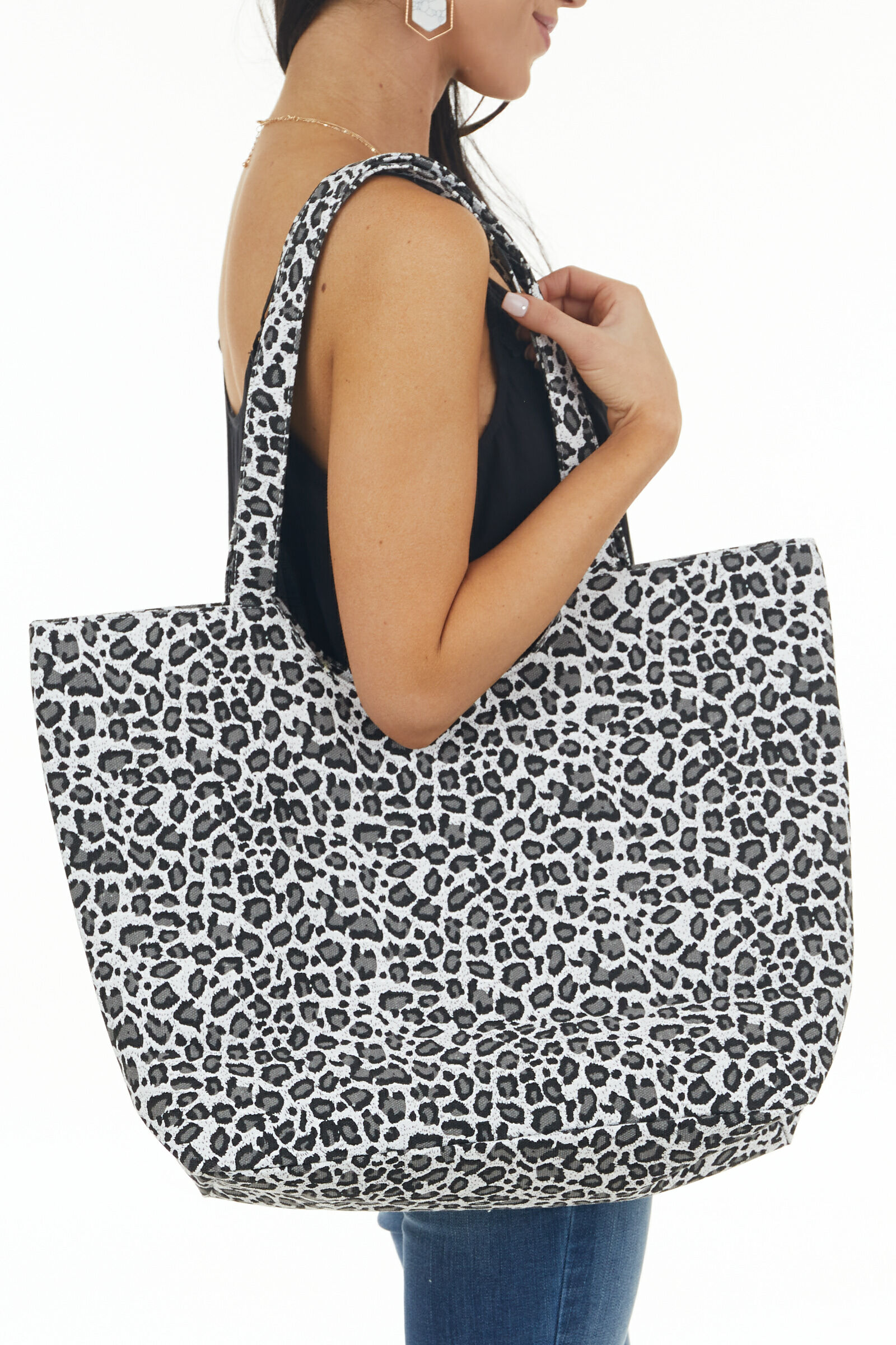 White and Steel Leopard Print Tote Bag with Zipper Closure